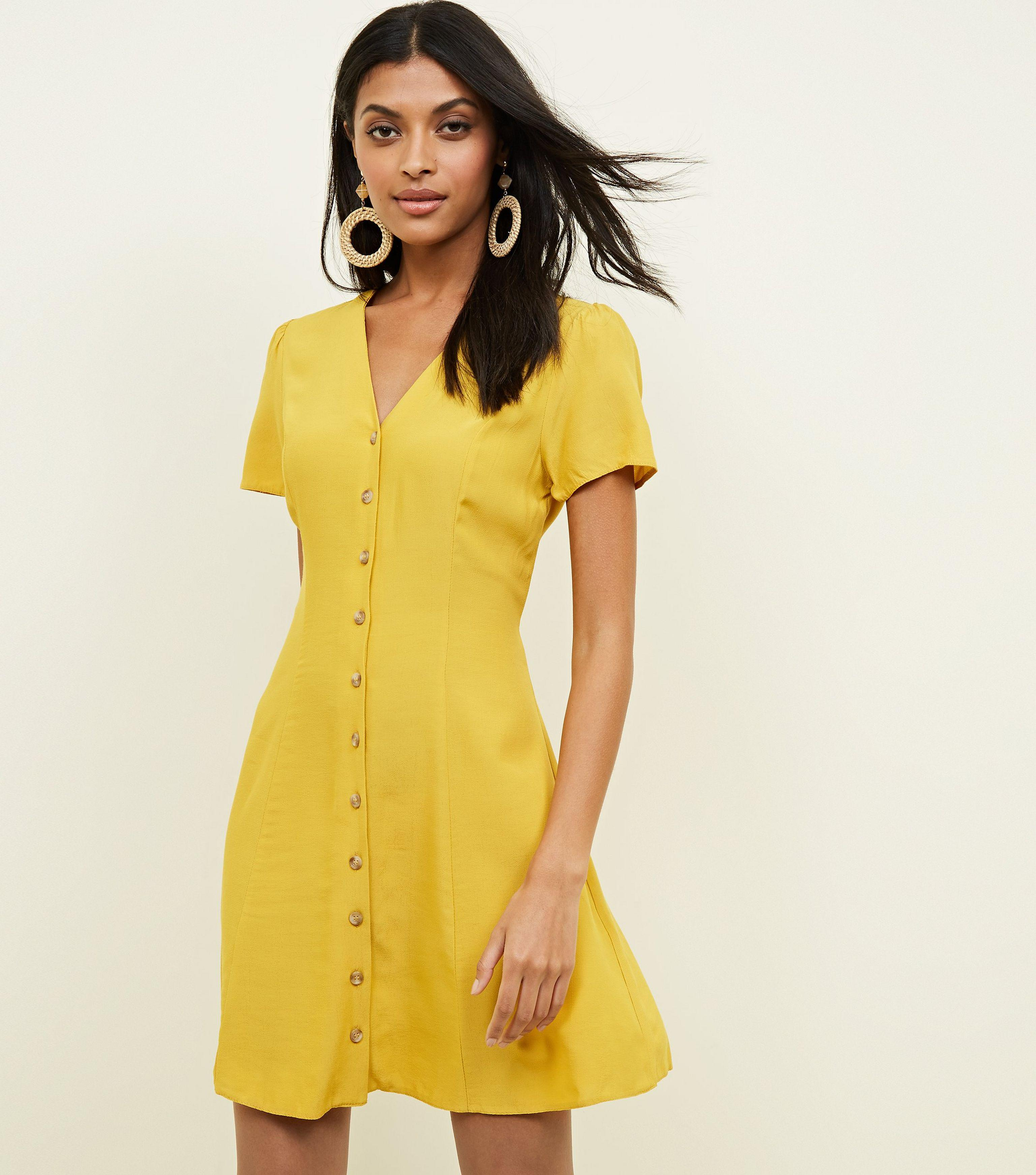 New Look Synthetic Mustard V Neck Button Front Tea Dress