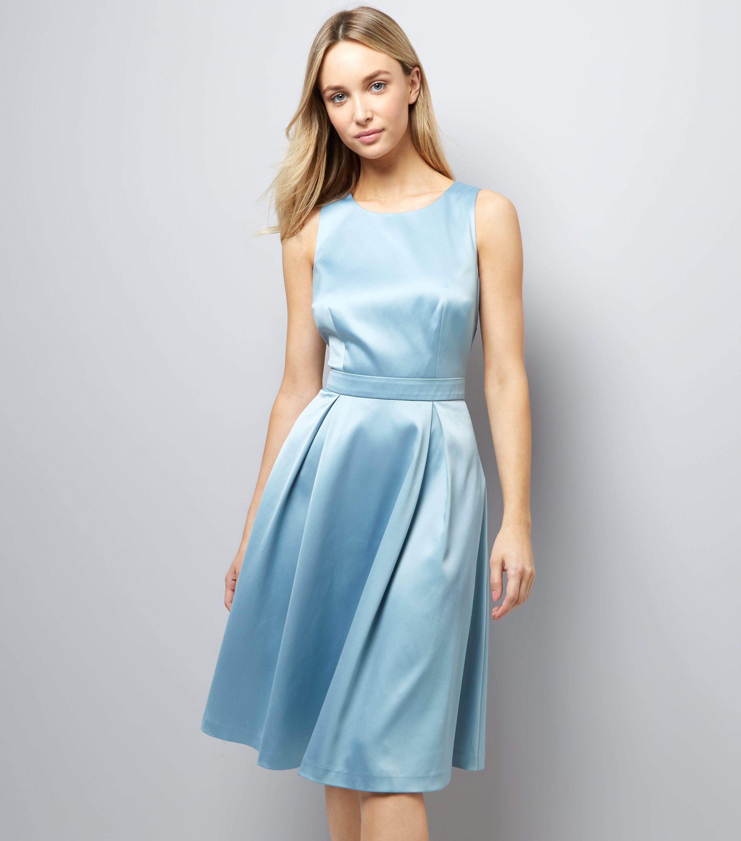 Lyst - New look Bright Blue Sateen Midi Prom Dress in Blue