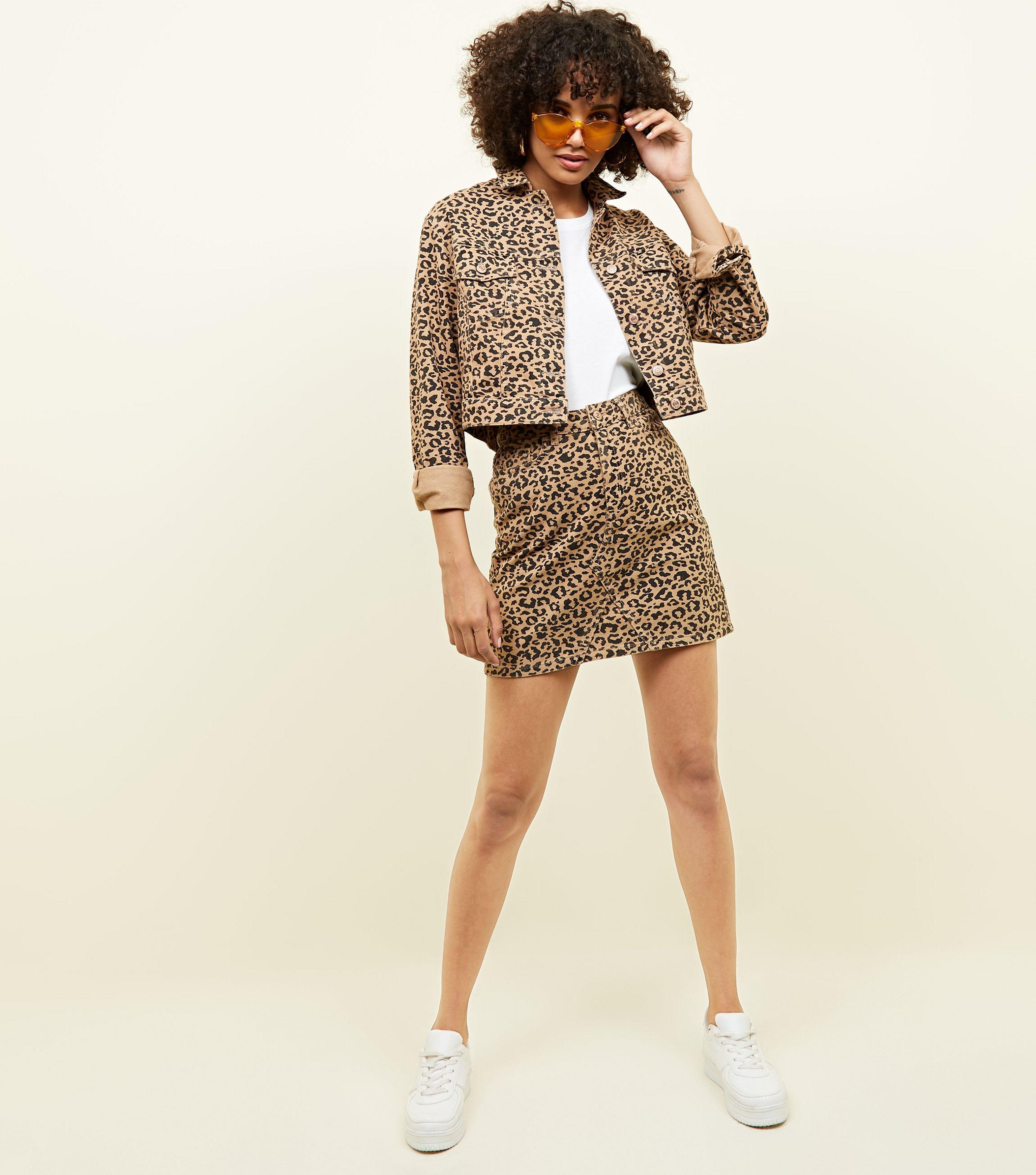 b07525a349 New Look Tan Leopard Print Denim Mini Skirt in Brown - Lyst