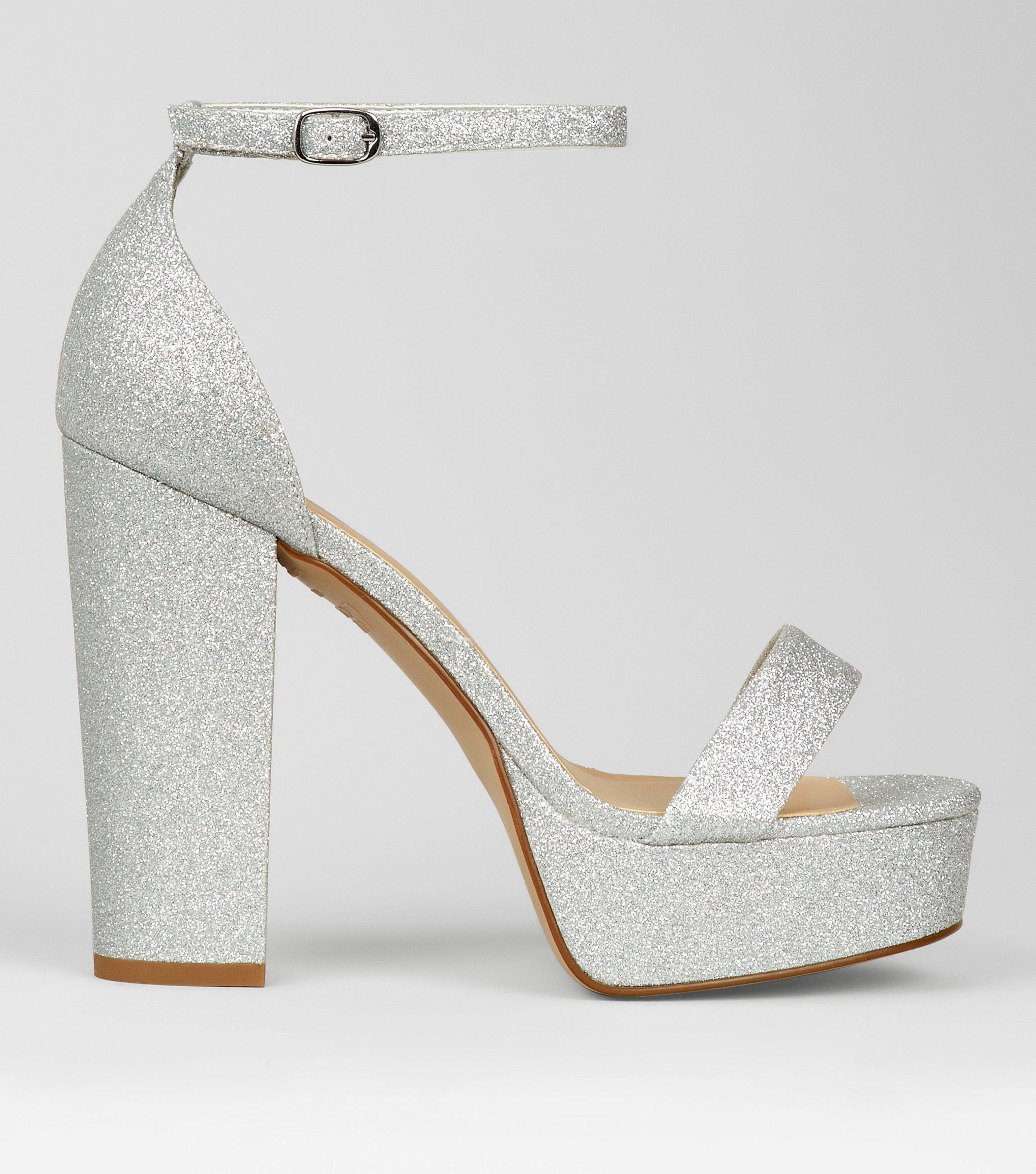 3eb573312027 New Look Wide Fit Silver Glitter Platform Heels in Metallic - Lyst