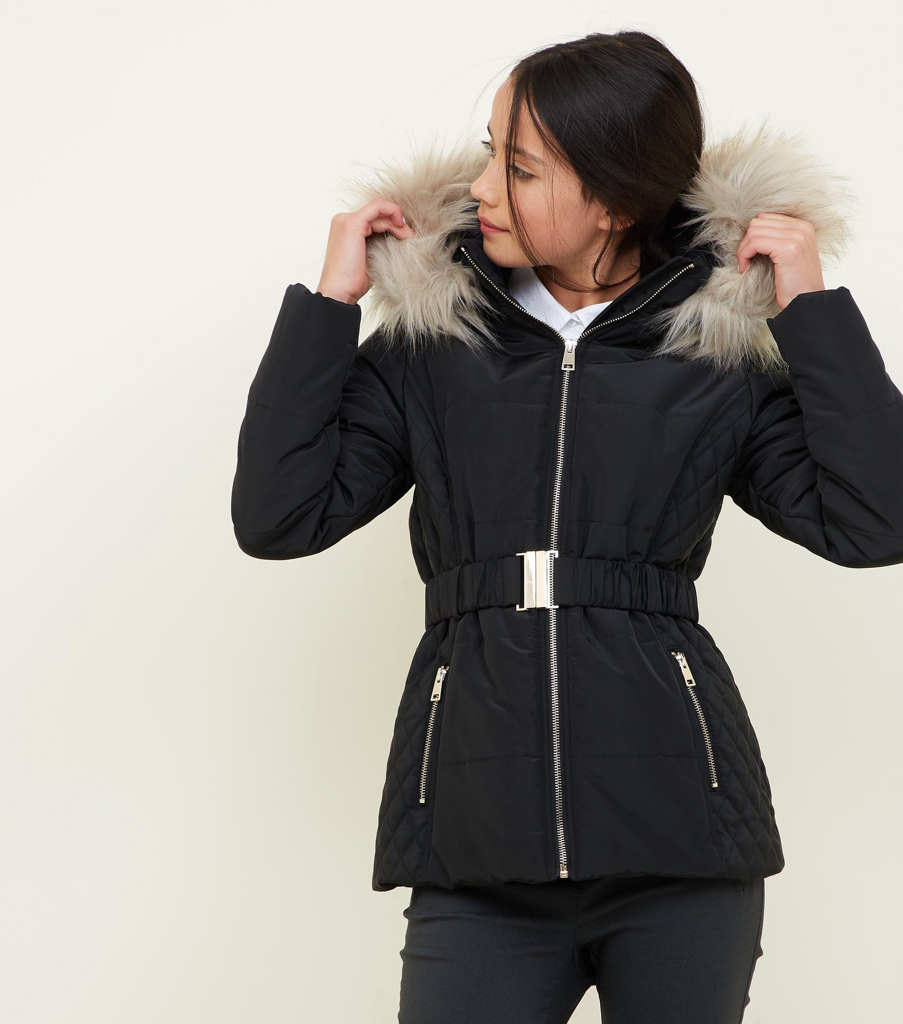 3959a3c5f New Look Girls Black Faux Fur Trim Hood Belted Puffer Jacket in ...