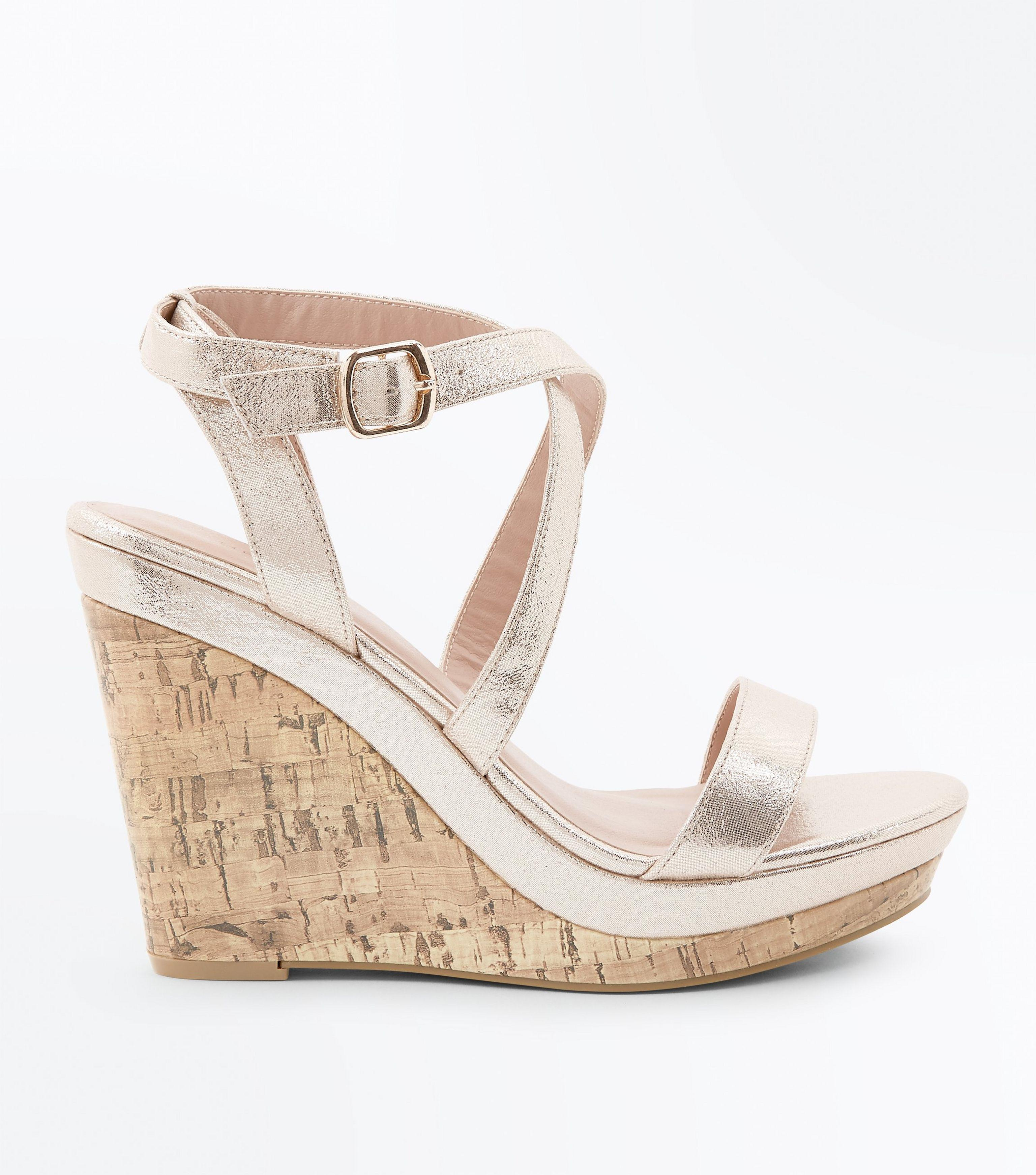 d6691b48795 New Look Gold Metallic Strappy Wedges