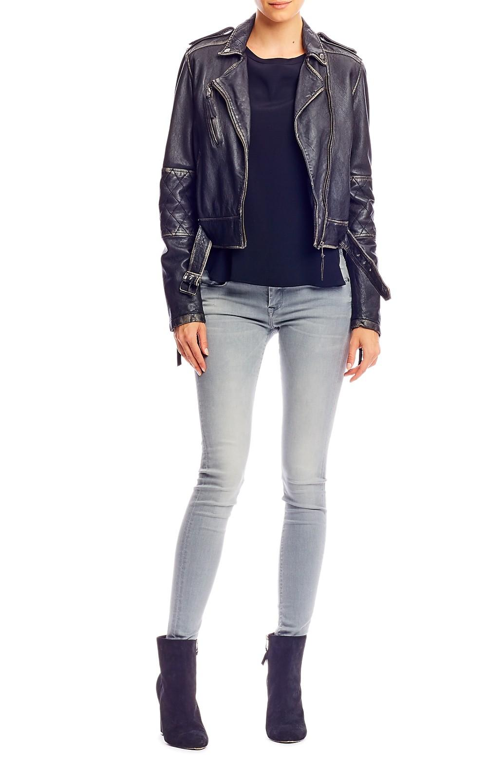Nicole Miller Distressed Leather Jacket In Black Lyst