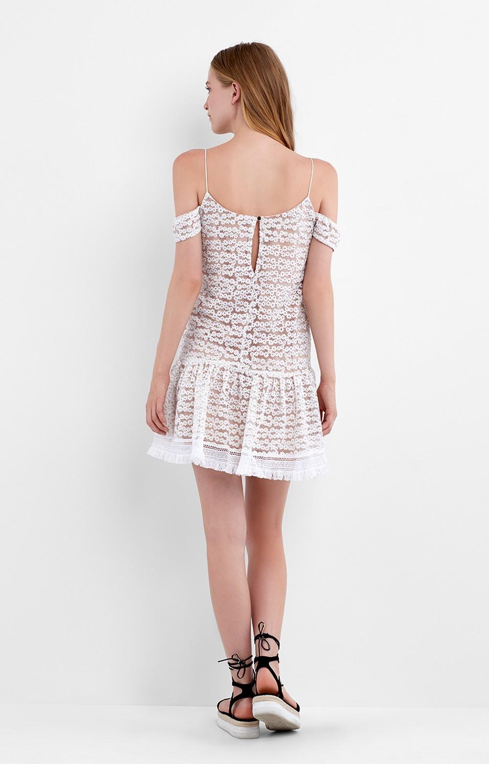 Nicole Miller Baby S Breath Ruffle Dress In White Lyst