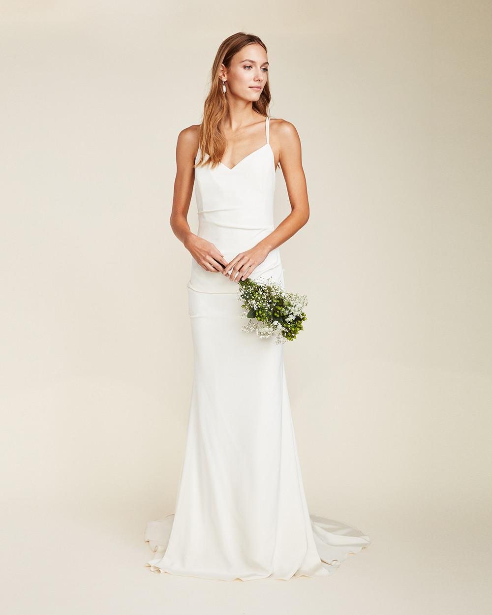 nicole miller wedding dresses miller stretch silk bridal gown in white lyst 6163