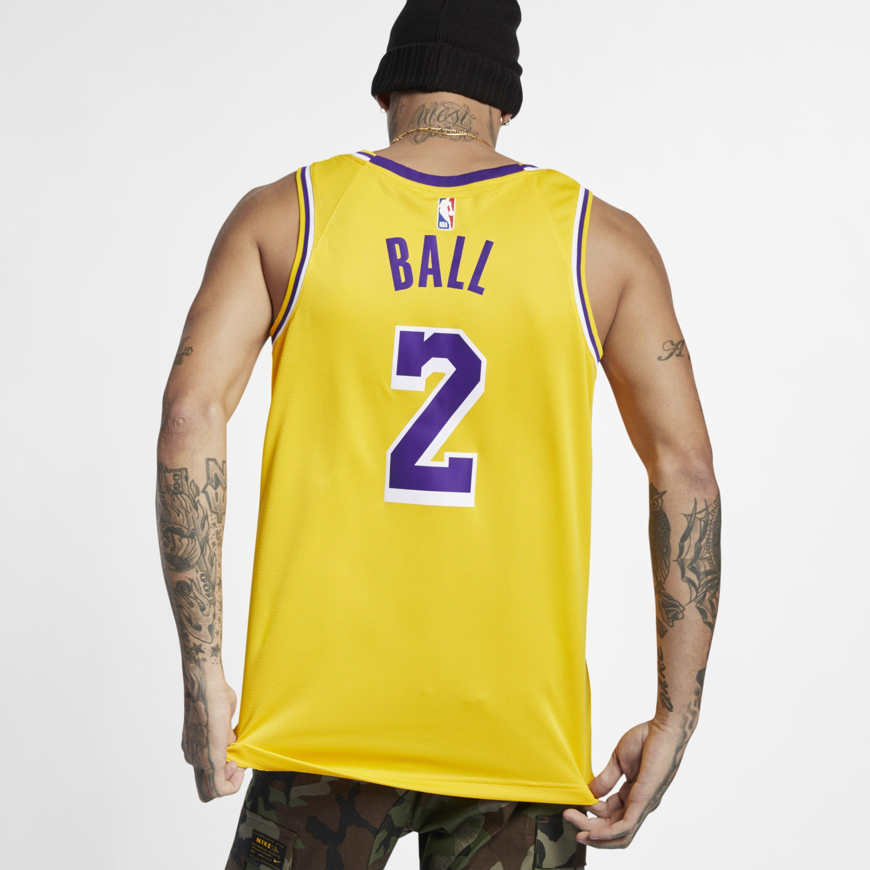 8b78511db045 Nike - Yellow Lonzo Ball Icon Edition Swingman (los Angeles Lakers) Nba  Connected Jersey. View fullscreen