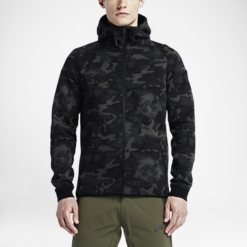 nike tech fleece windrunner camo men 39 s hoodie in black for. Black Bedroom Furniture Sets. Home Design Ideas