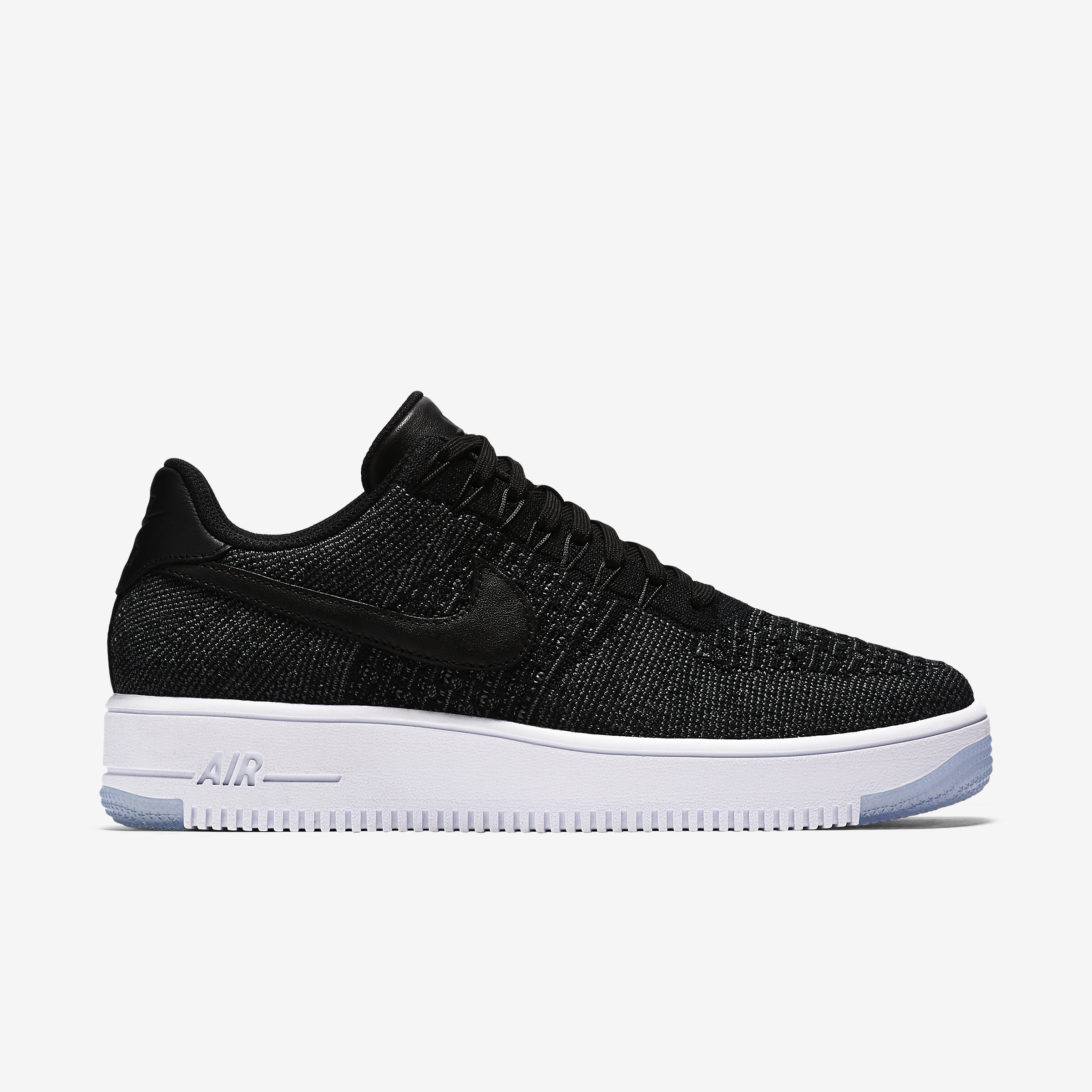 Nike Leather Air Force 1 Flyknit Low in Black,Dark Grey,White,Black (Black) for Men