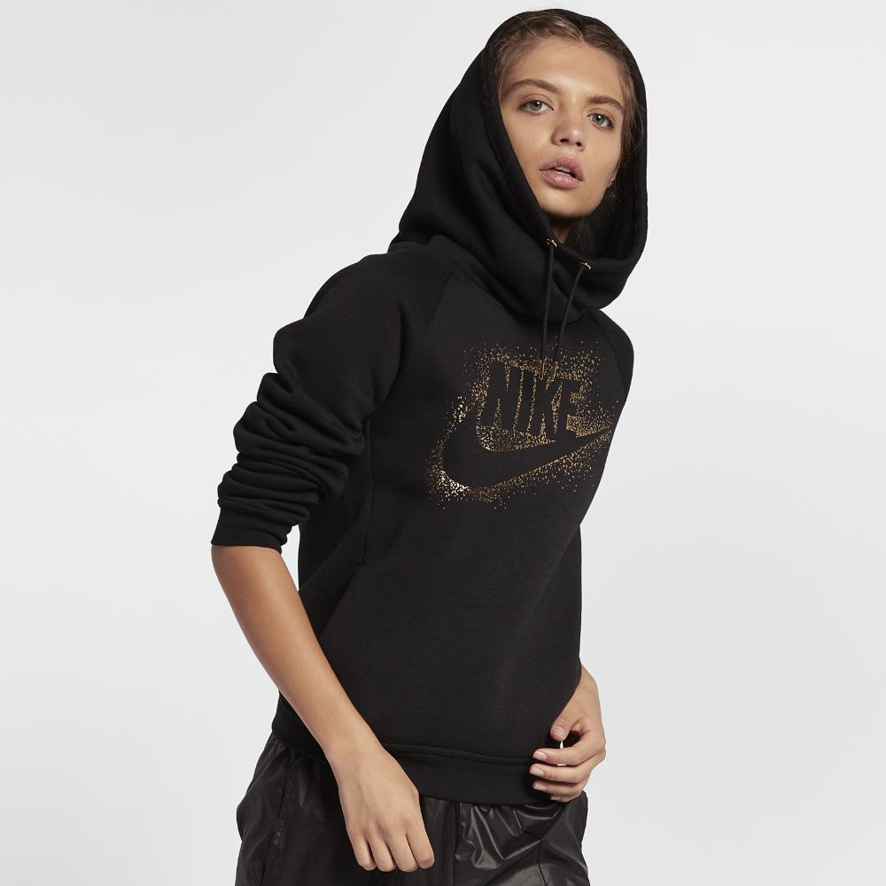 27ffaa53288e9 Lyst - Nike Sportswear Rally Funnel Neck Women s Fleece Hoodie in Black