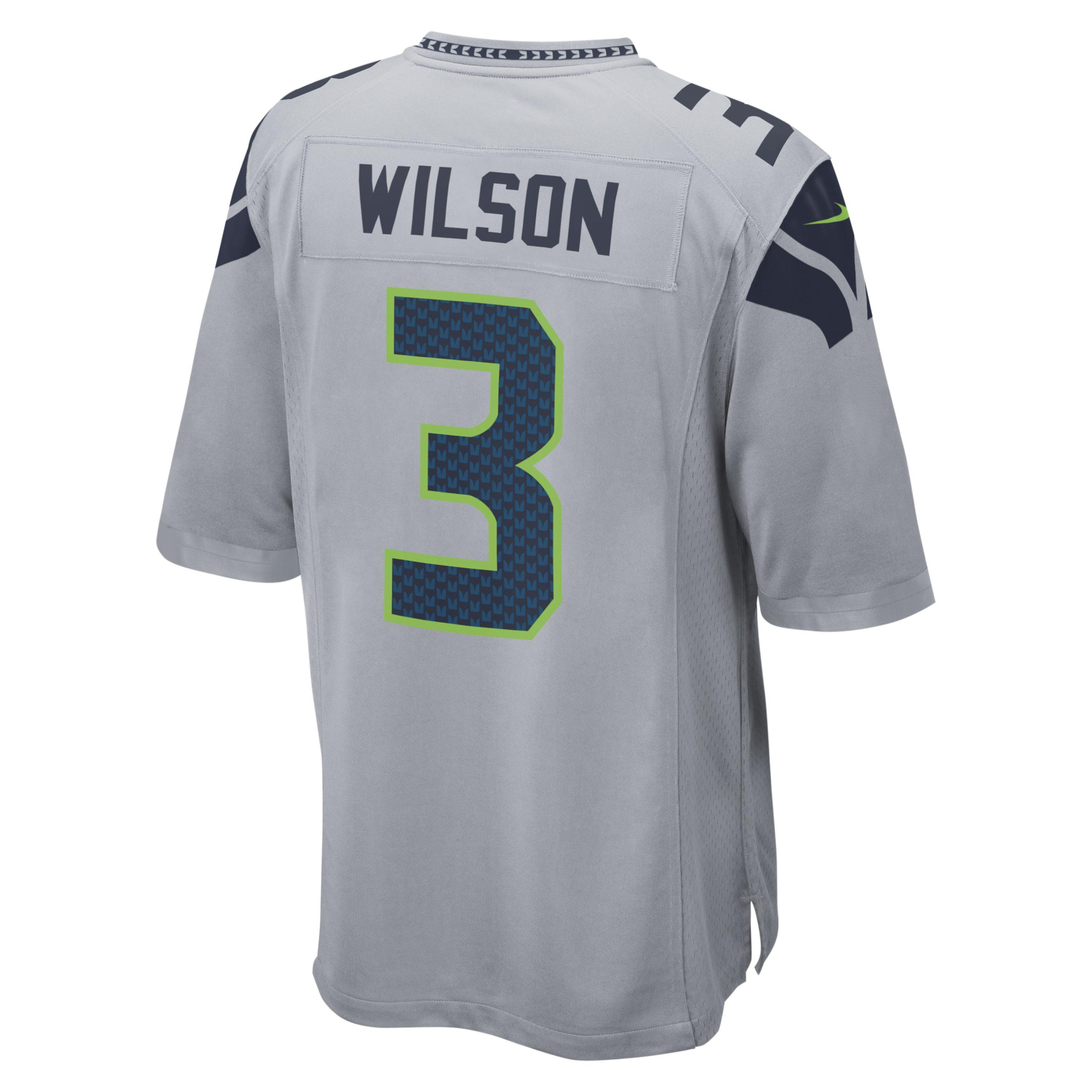 a2f296967eb Nike. Men s Gray Nfl Seattle Seahawks (russell Wilson) American Football  Alternate Game Jersey