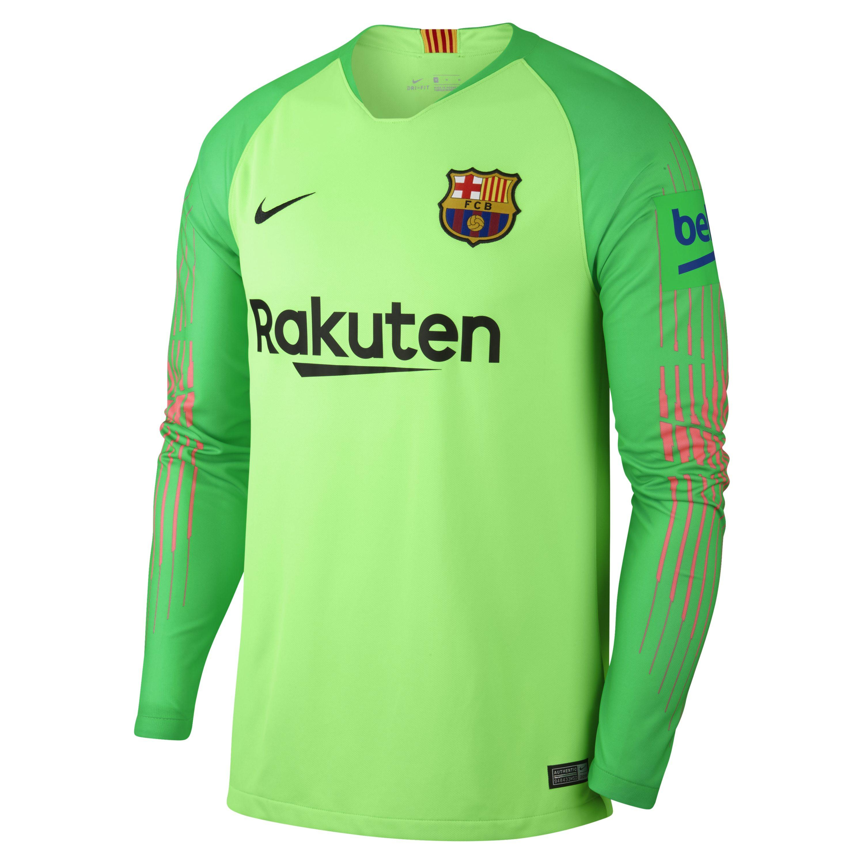 quality design 133b9 dda6f Men's Green 2018/19 Fc Barcelona Stadium Goalkeeper Football Shirt