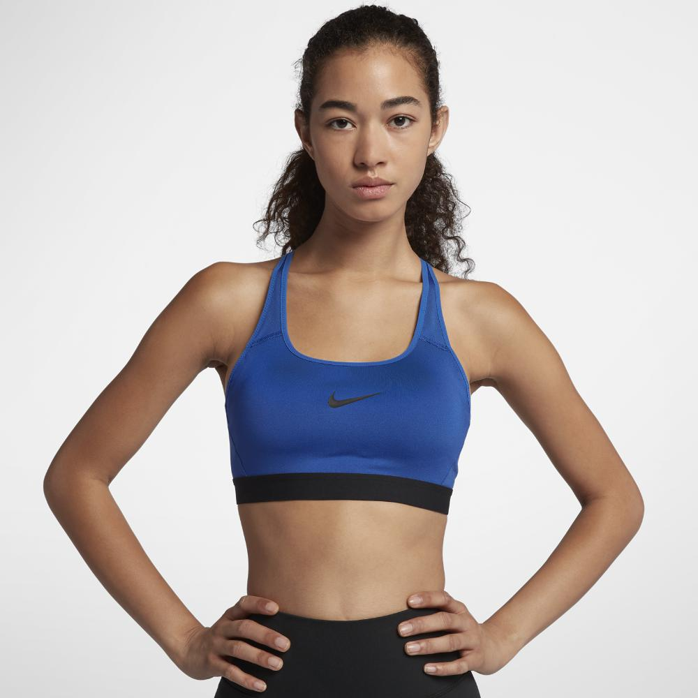 37c7a06630ca7 Lyst - Nike Classic Strappy Women s Medium Support Sports Bra in Blue