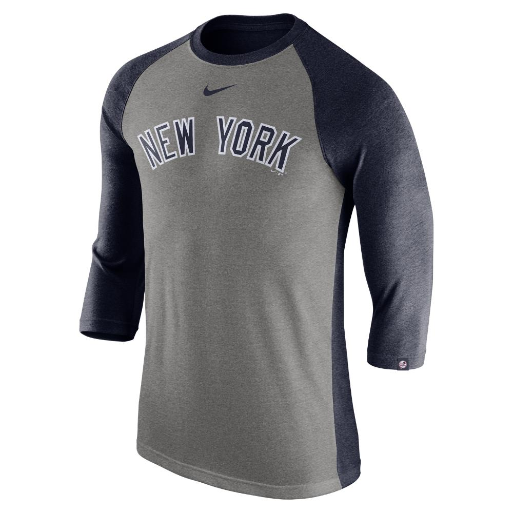 new product a5b0d 17874 Lyst - Nike Tri Raglan (mlb Yankees) Men s 3 4 Sleeve Top in Gray ...