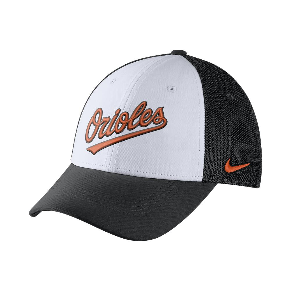 2c73150997ee6 Lyst - Nike Mesh Back Swoosh Flex (mlb Orioles) Fitted Hat in White ...