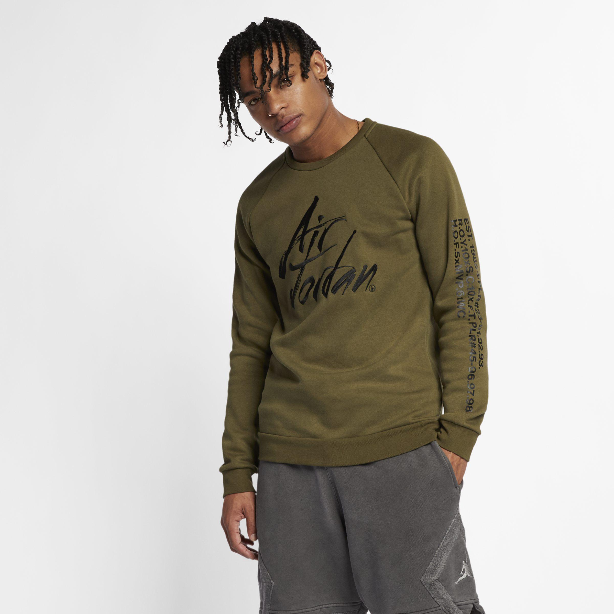 7692d9f4e5f9 Nike Jordan Sportswear Greatest Fleece Crew in Green for Men - Lyst