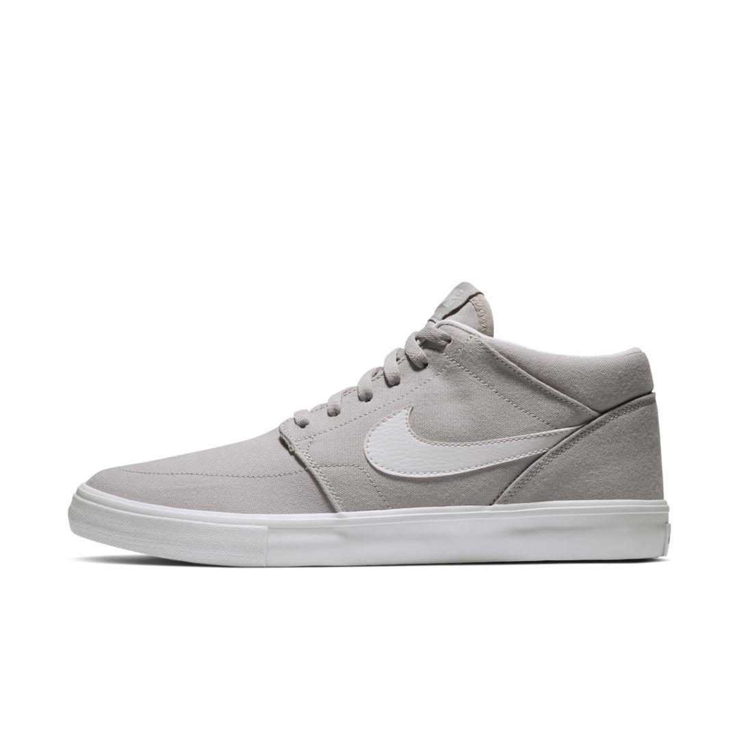 Nike Sb Portmore 2 Solarsoft Mid Canvas Skate Shoe in Gray for Men ...