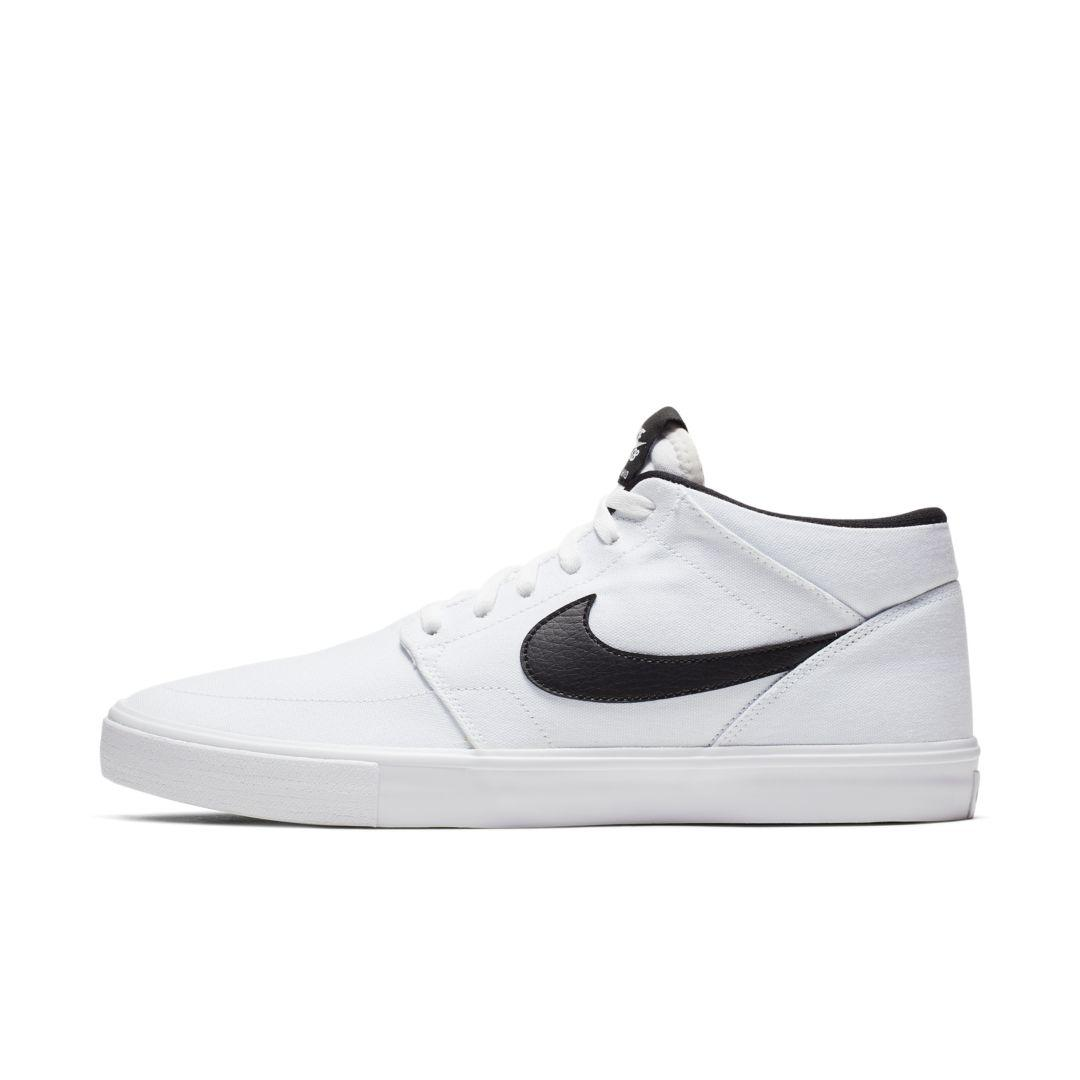 Nike Sb Portmore 2 Solarsoft Mid Canvas Skate Shoe in White for ...