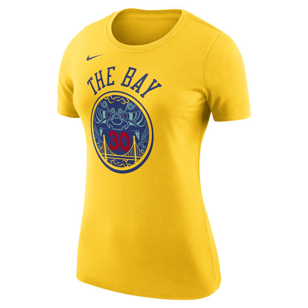 Nike. Yellow Stephen Curry Golden State Warriors City Edition Dri-fit  Women s Nba T-shirt ff648c80e