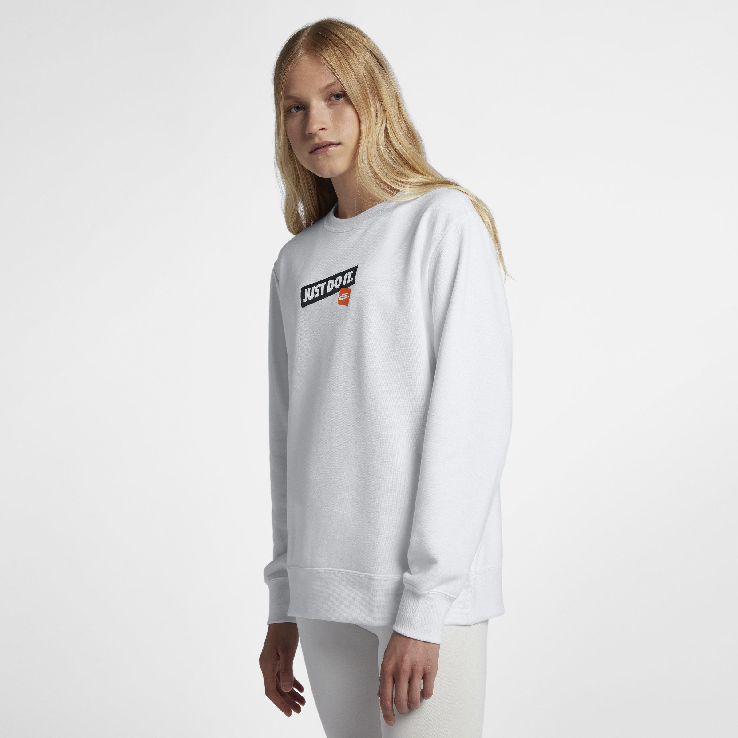 Nike White Sportswear Just Do It Rundhalsshirt für Damen