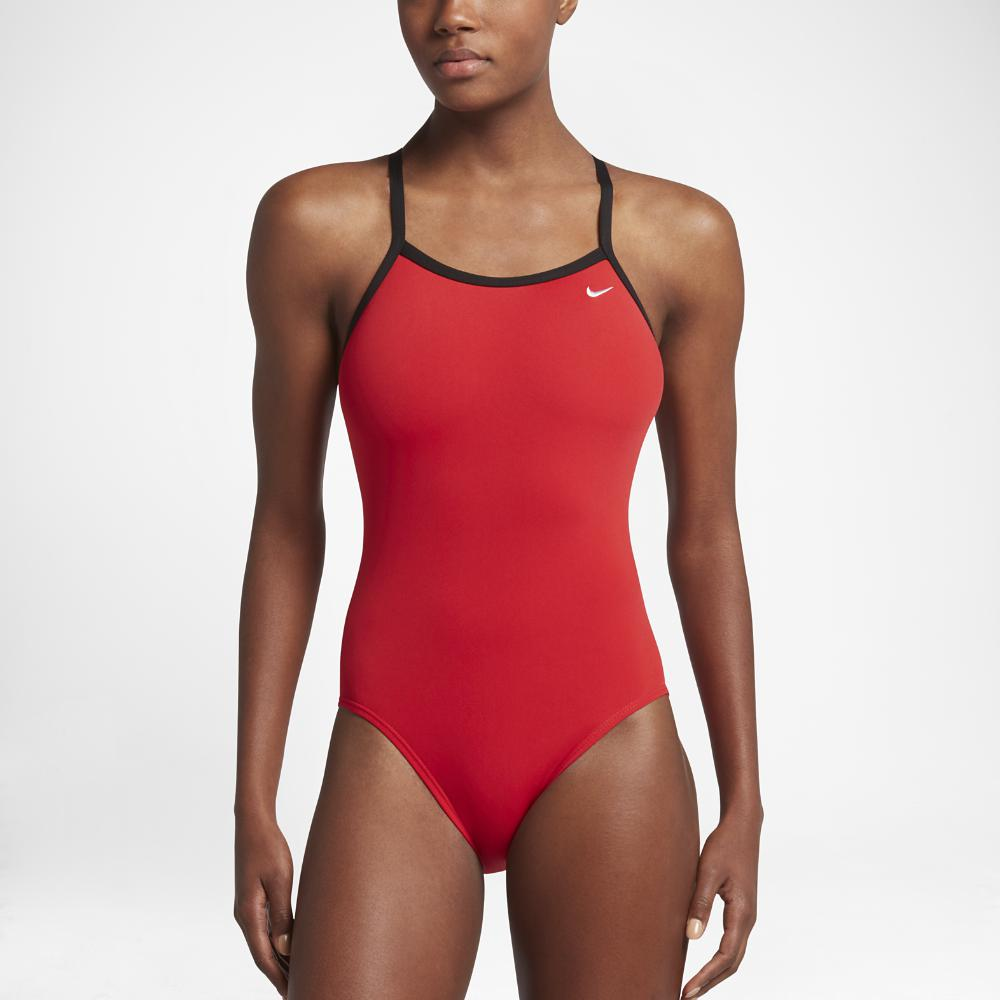 3a56bd7fd42 Lyst - Nike Poly Core Solid Women's Swimsuit in Red - Save 36%