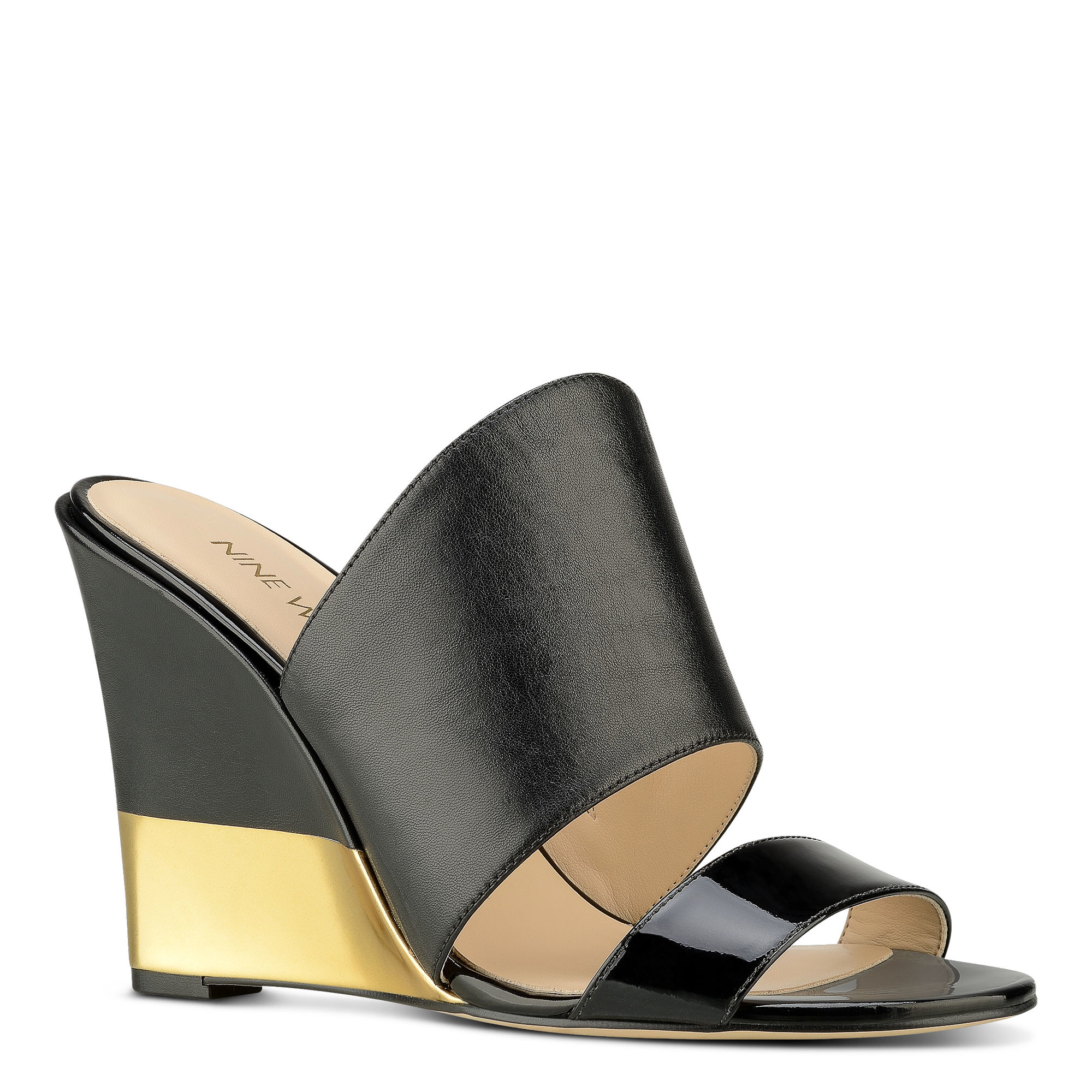 Nine West Aniya Wedge Sandals In Black Lyst