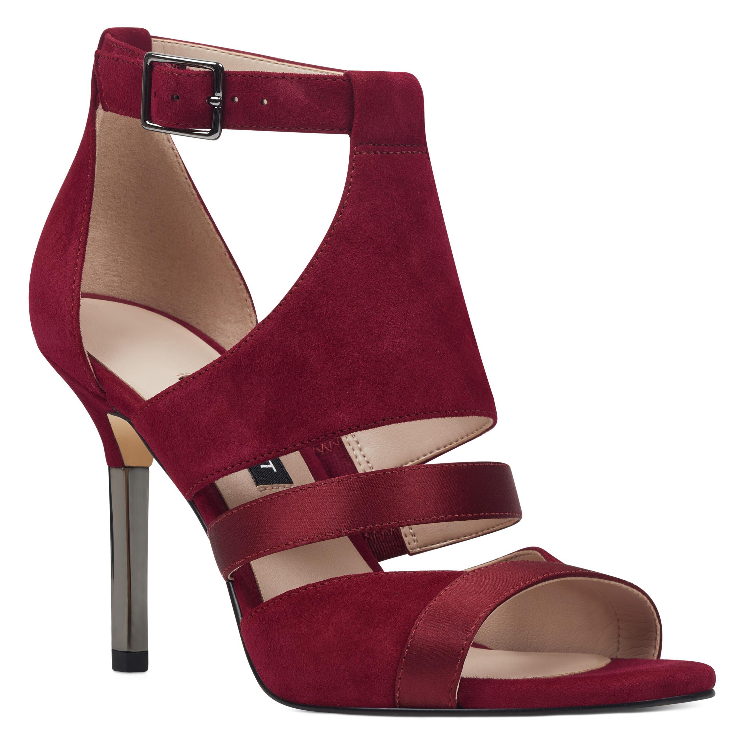 f1367c01c2c229 Nine West - Red Brianna Caged Sandals - Lyst. View fullscreen