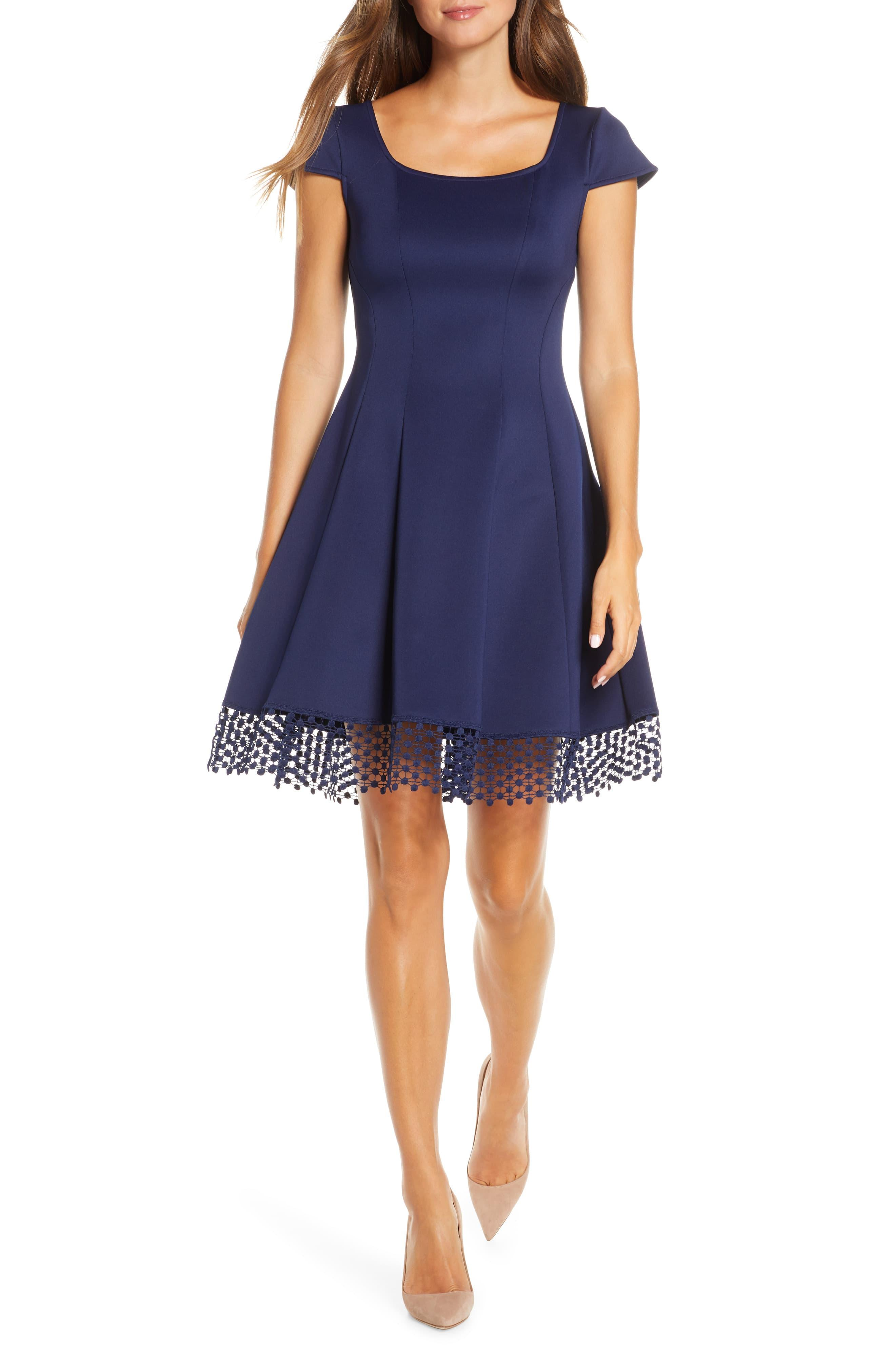 Donna Ricco Lace Trim Fit Amp Flare Dress In Navy Blue Lyst