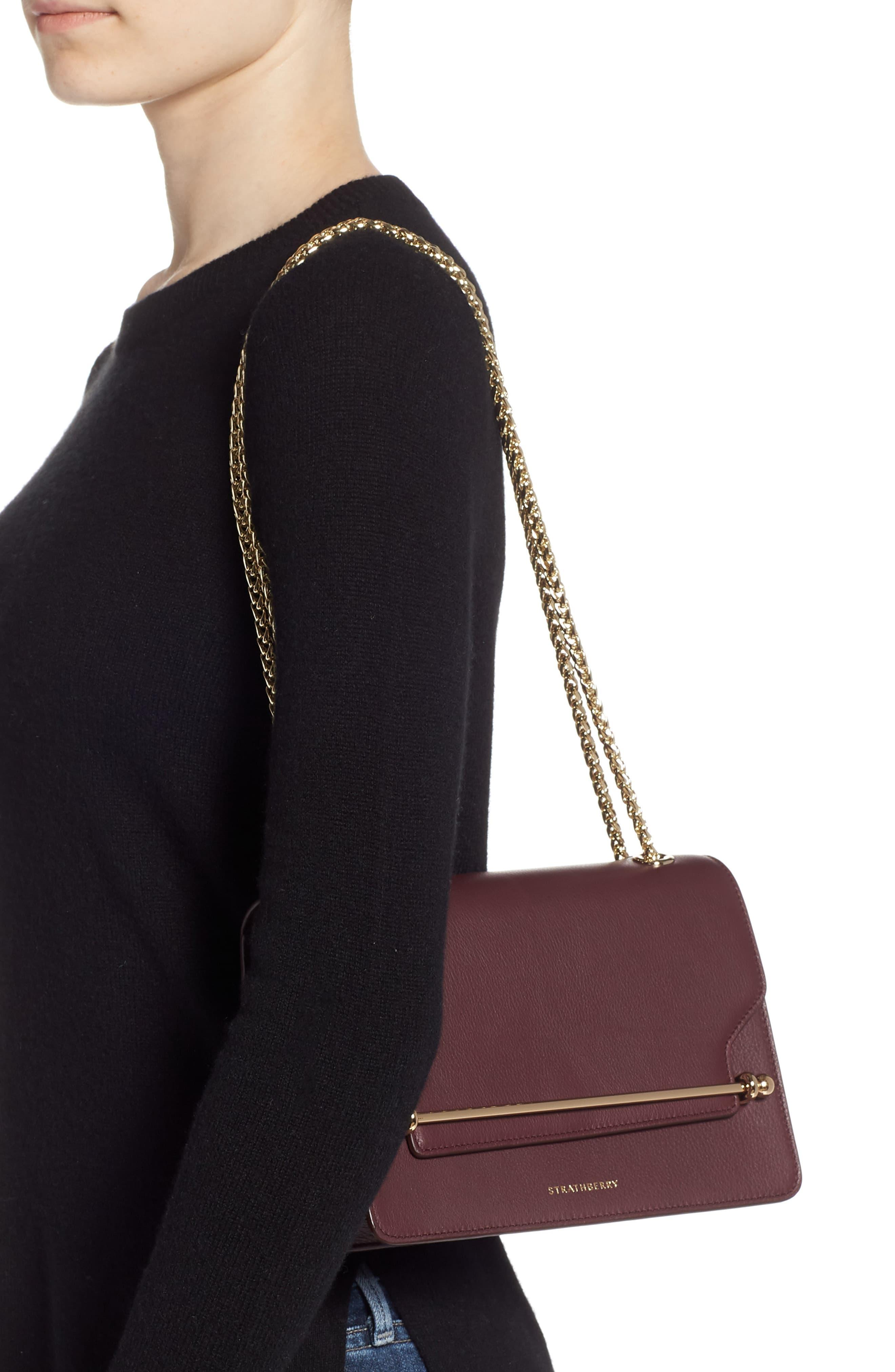 Strathberry East/west Leather Crossbody Bag - Burgundy in Purple - Lyst