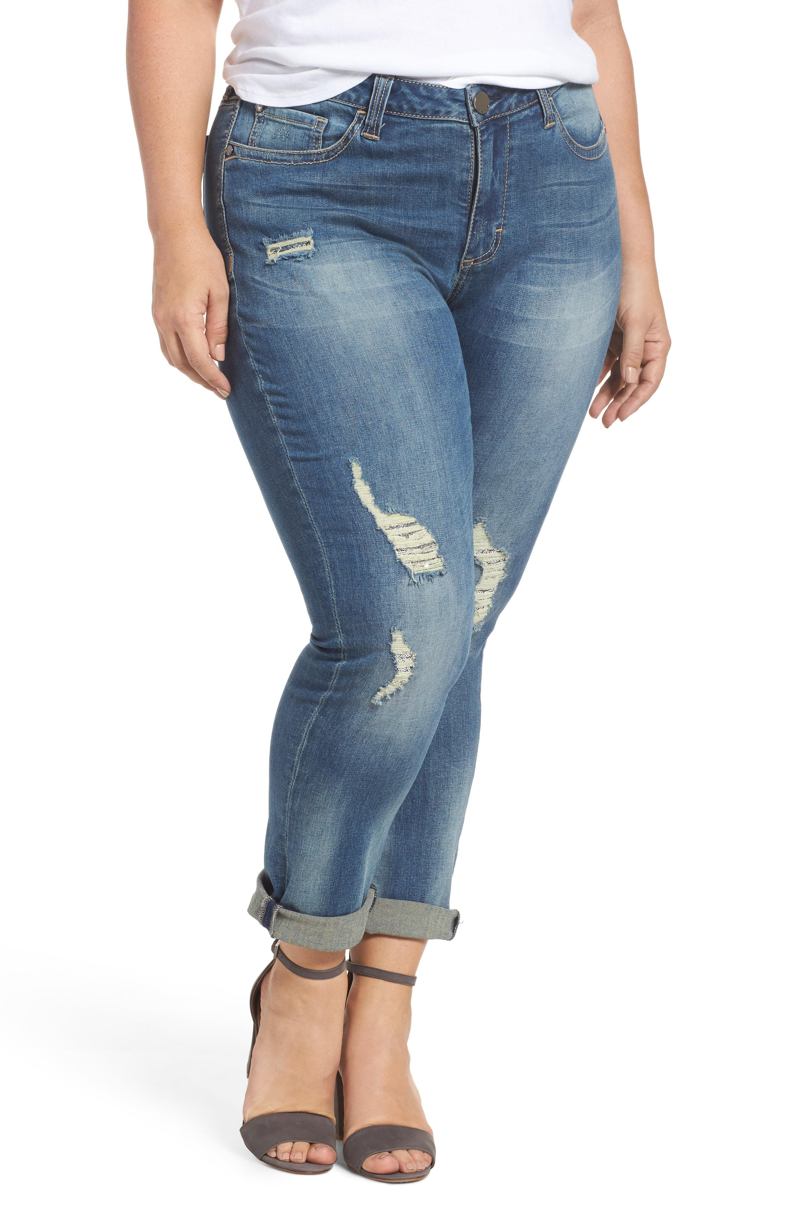 562714dc02e Lyst - Seven7 Ripped   Embellished Skinny Jeans in Blue