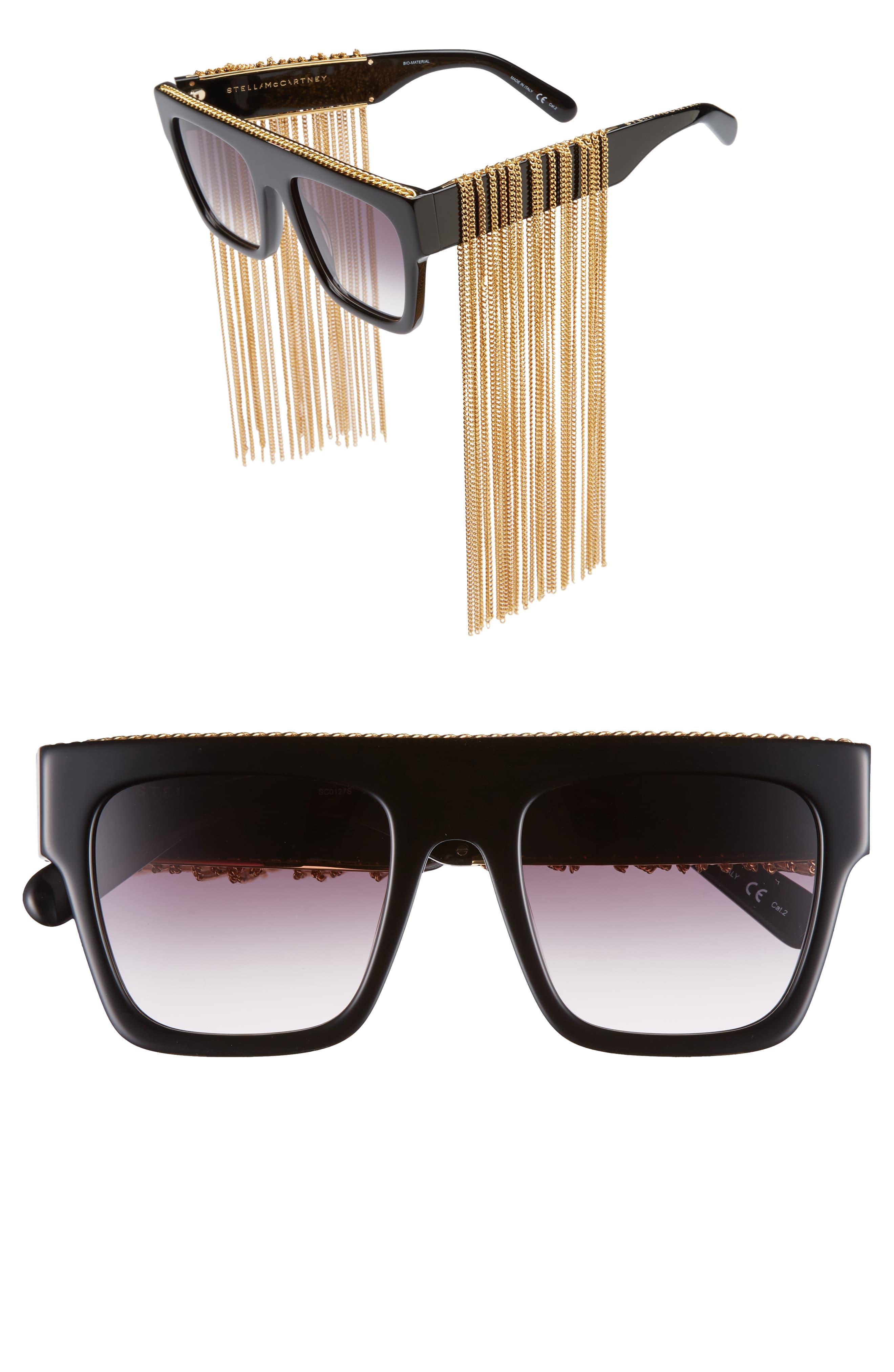 159cf6c29899a Stella McCartney - Black 51mm Chain Fringe Square Sunglasses - Lyst. View  fullscreen