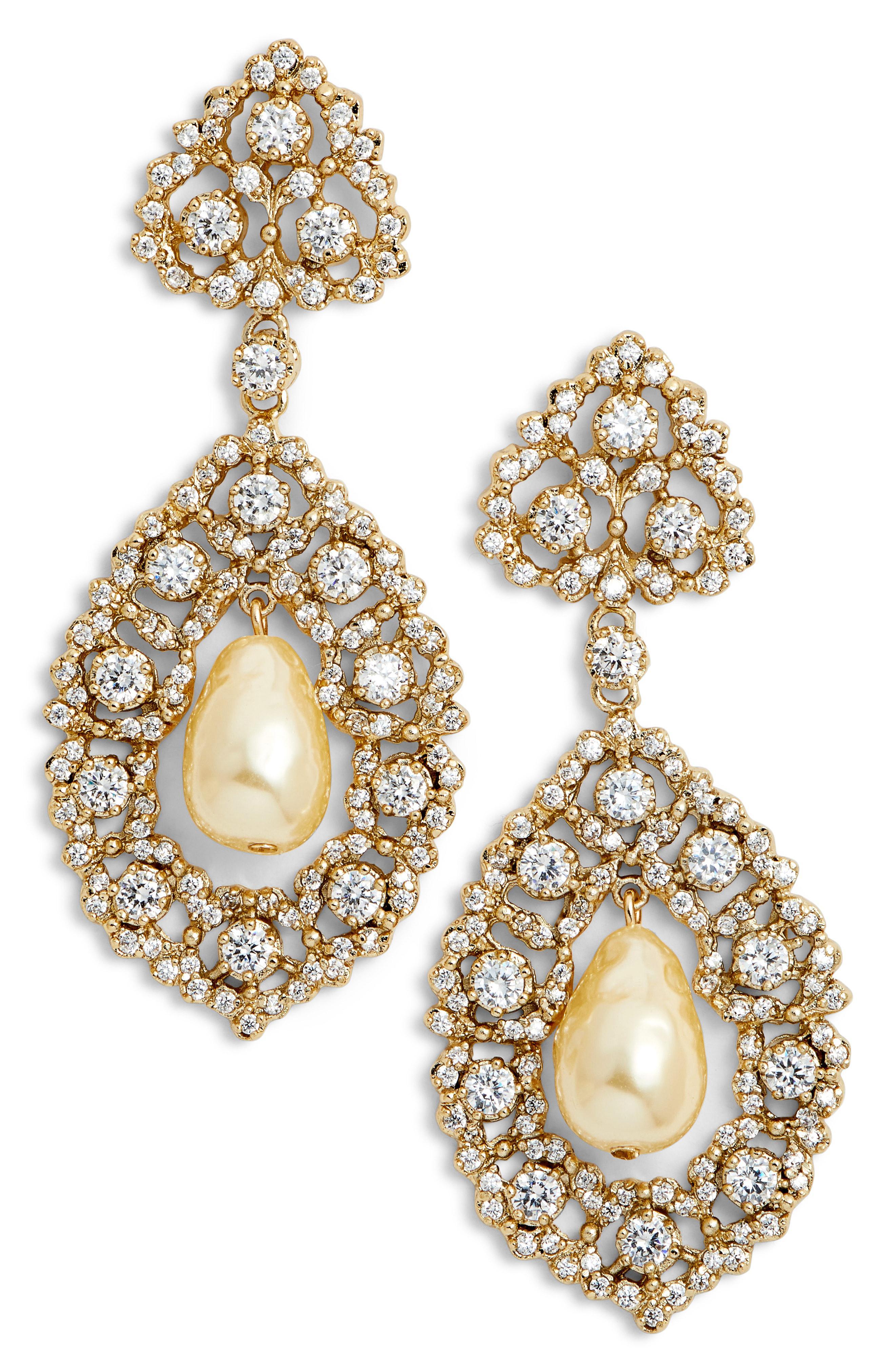 Nina Women S Metallic Rococo Double Drop Imitation Pearl Earrings
