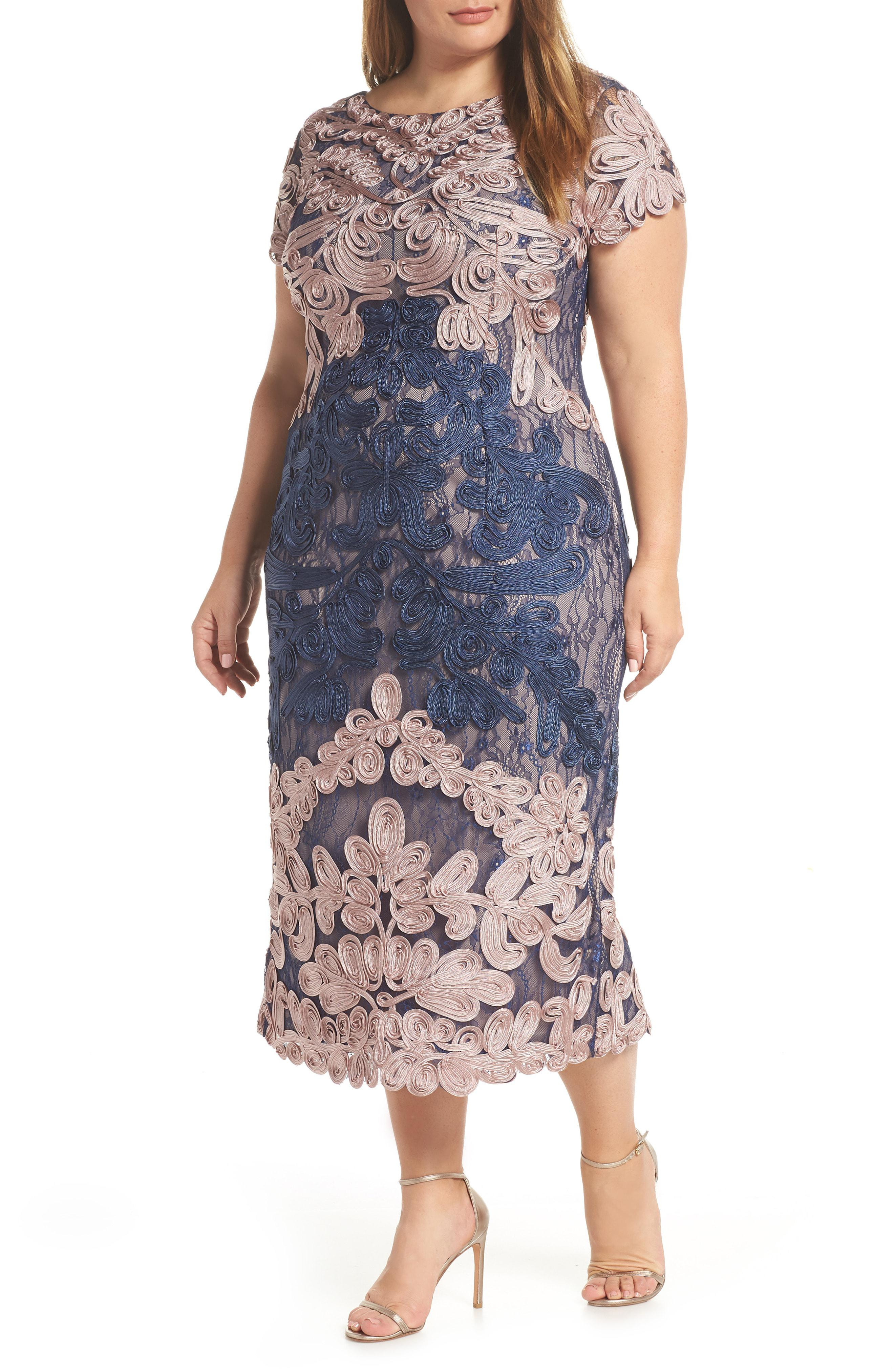 54c7a6cfd40 JS Collections Two Tone Soutache Embroidered Midi Dress in Blue - Lyst