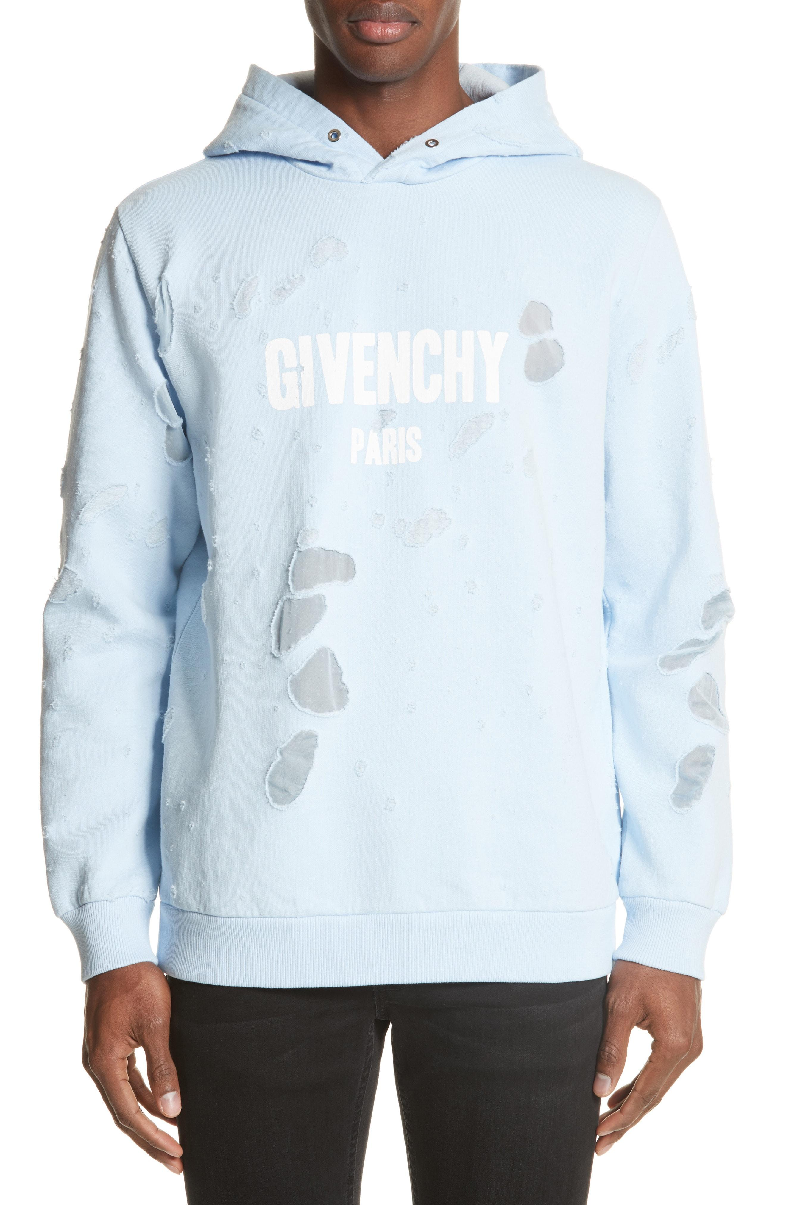 30e60a4143999 Givenchy Destroyed Logo Print Hoodie in Blue for Men - Lyst