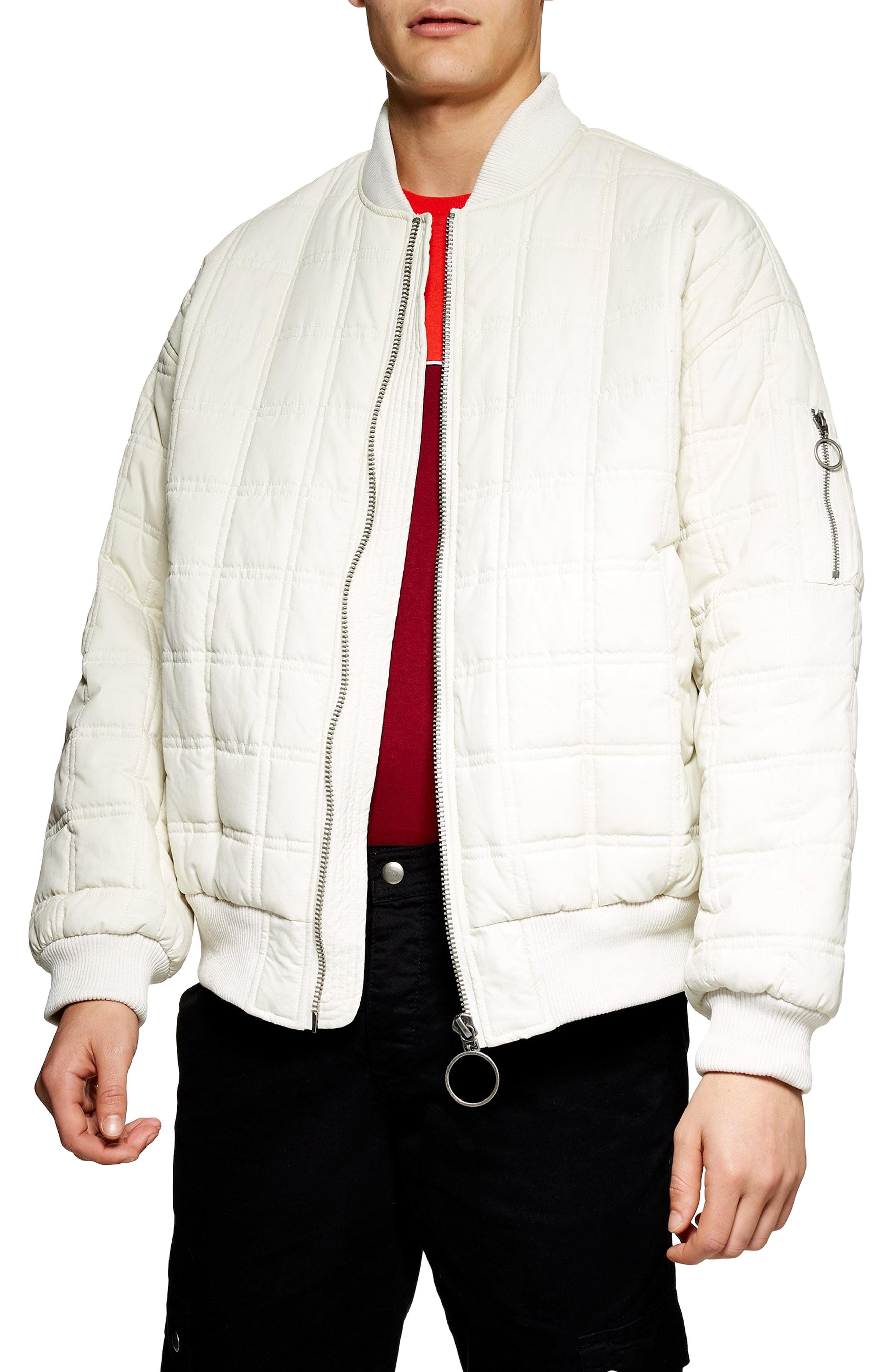 7c51c02cb Topman White St. Clair Oversize Quilted Bomber Jacket for men