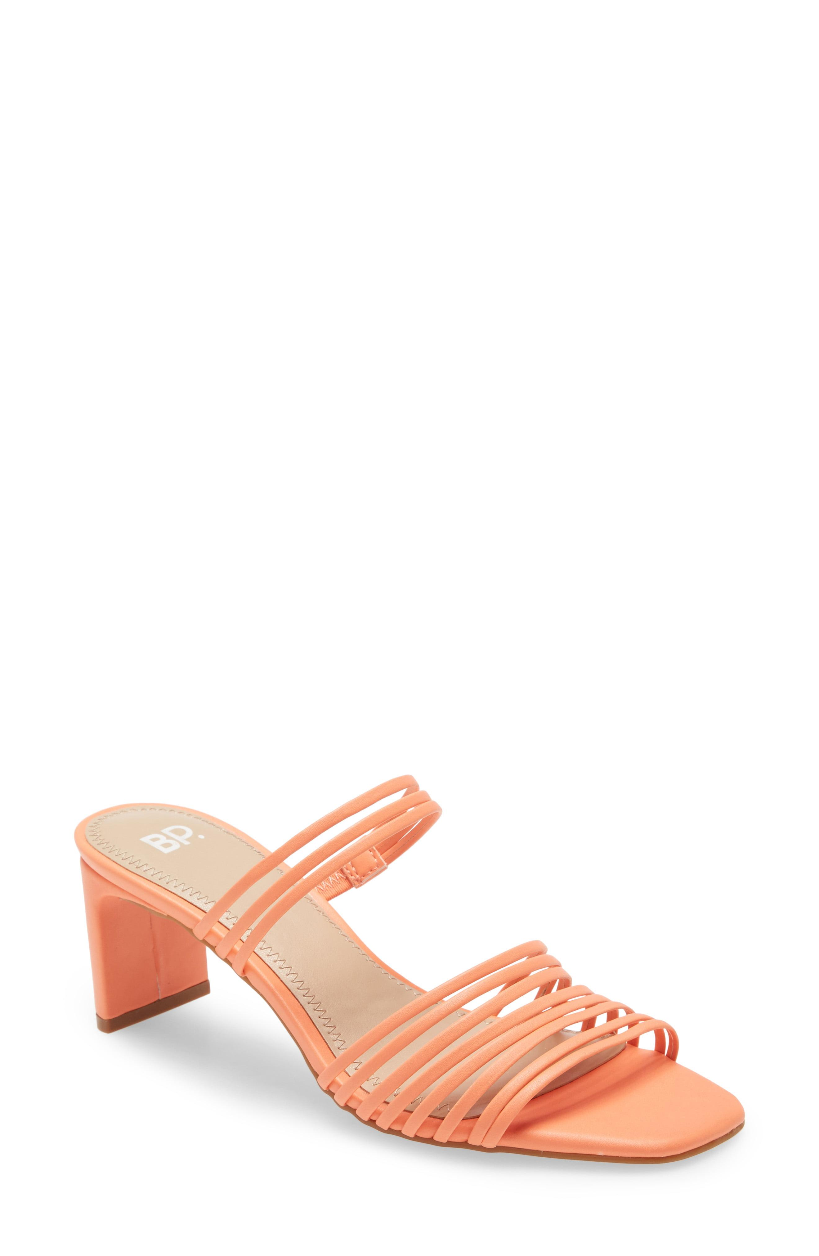 Blancho Cutout Embellished T-Strap Sandal Coral