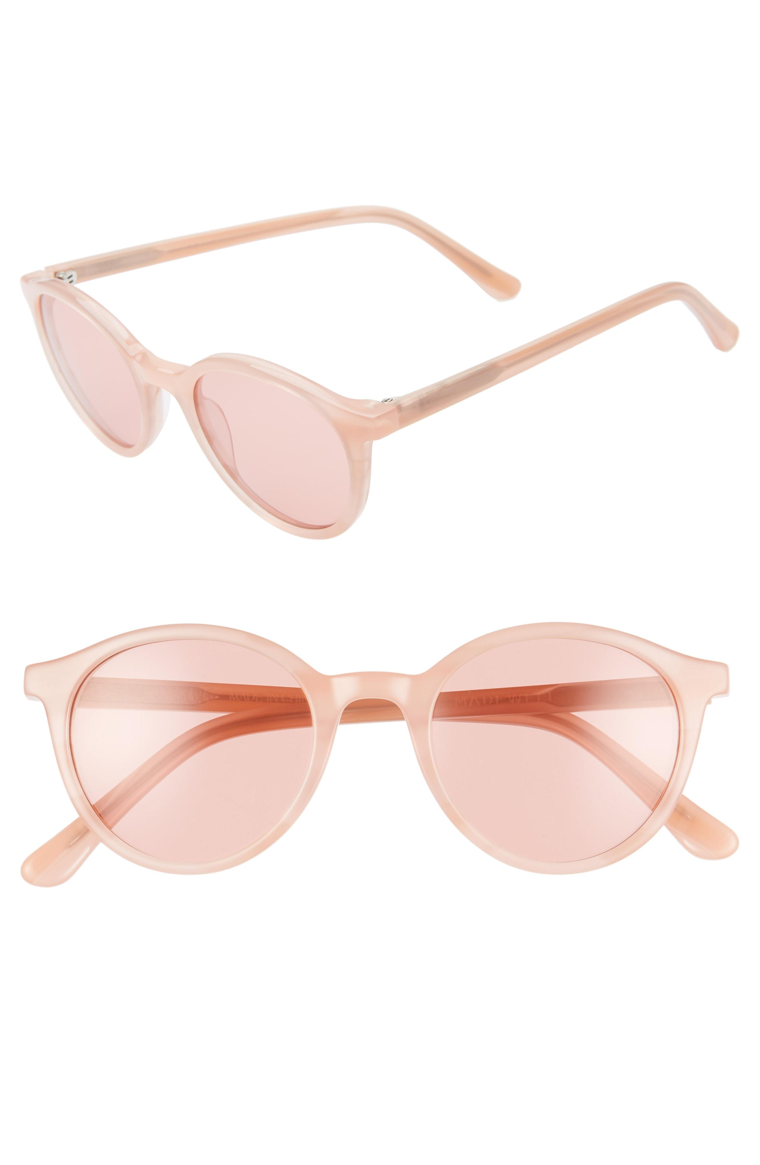 deead3c20696d Lyst - Madewell Layton 48mm Round Sunglasses - Sweetheart Blush in Pink