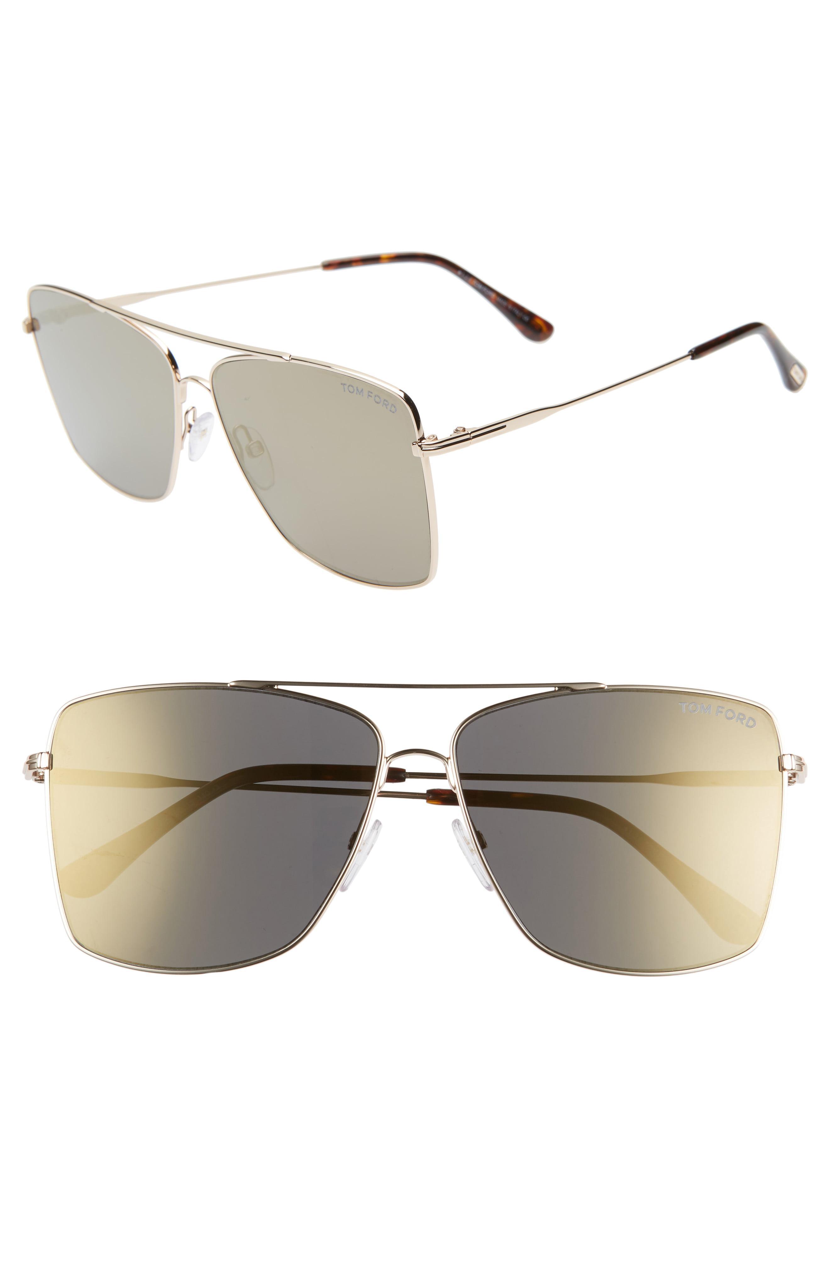 45882cd4109bf Lyst - Tom Ford Magnus 60mm Aviator Sunglasses in Metallic