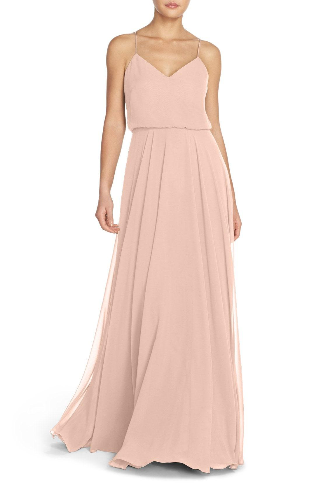 5244bc22dfc3 Lyst - Jenny Yoo Inesse Chiffon V-neck Spaghetti Strap Gown in Pink