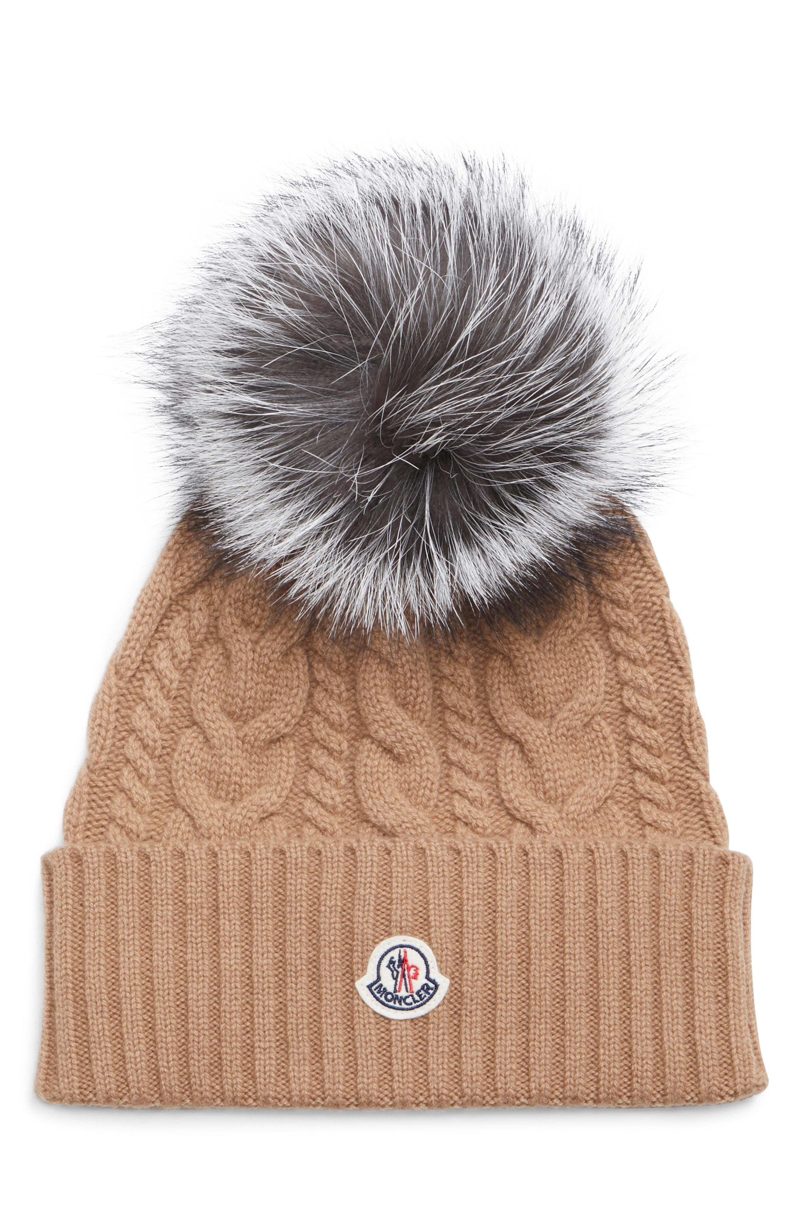 98c15b09ebbf7 Lyst - Moncler Cable Knit Beanie With Genuine Fox Fur Pom in Gray