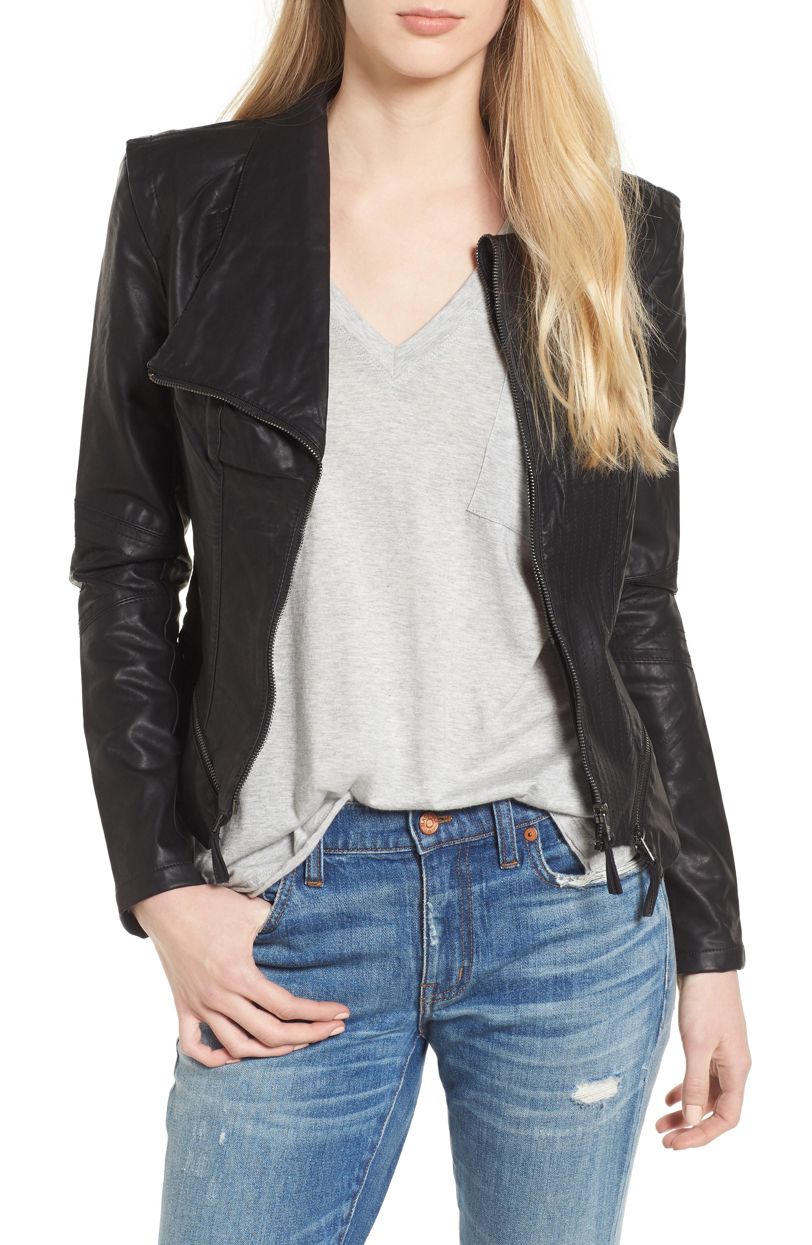 fa8c2418823 ... Faux Leather Jacket - Lyst. View fullscreen