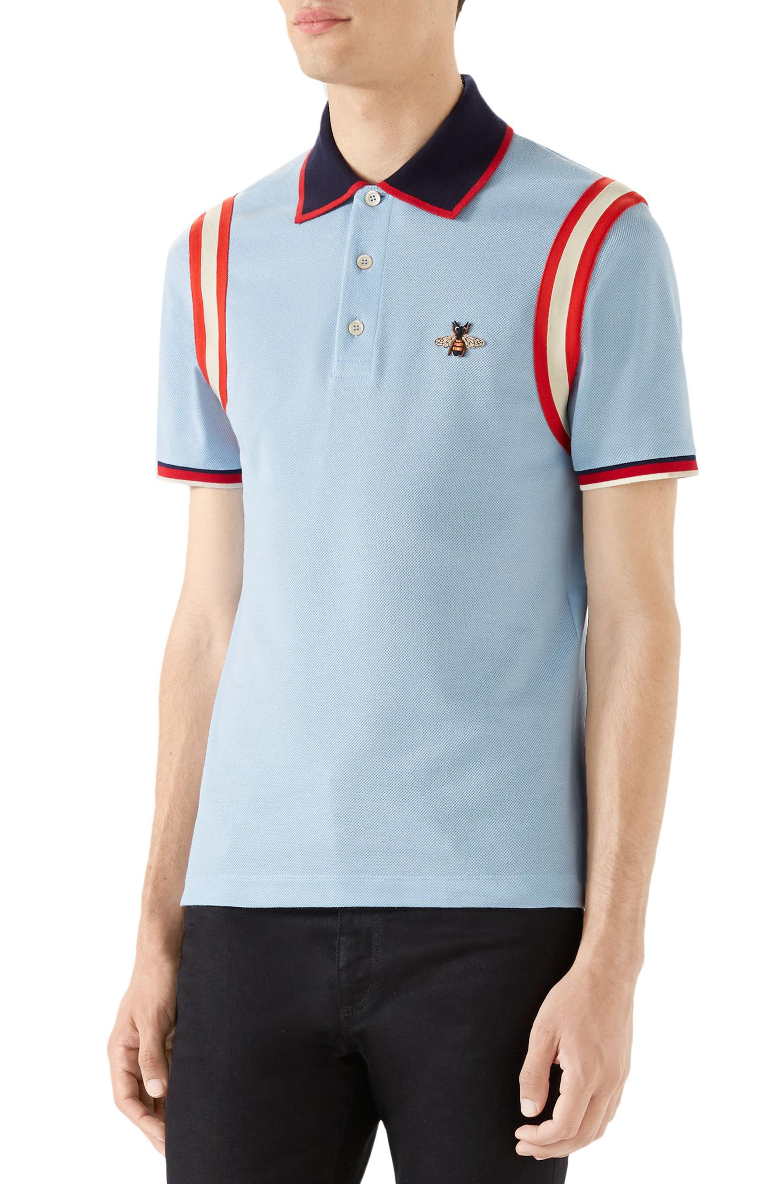 c051be6ef90 Gucci - Red Stripe Sleeve Bee Polo for Men - Lyst. View fullscreen