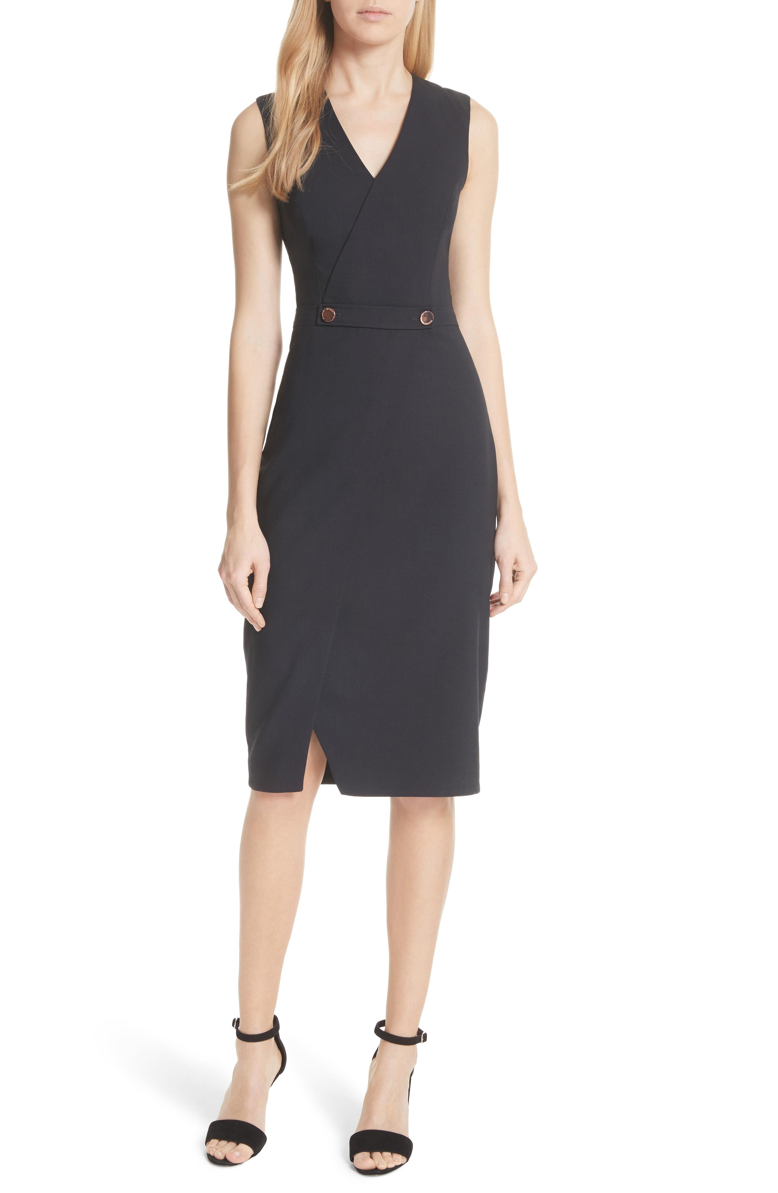 62ff9e7c482d Lyst - Ted Baker Ted Working Title Faux Wrap Dress in Black