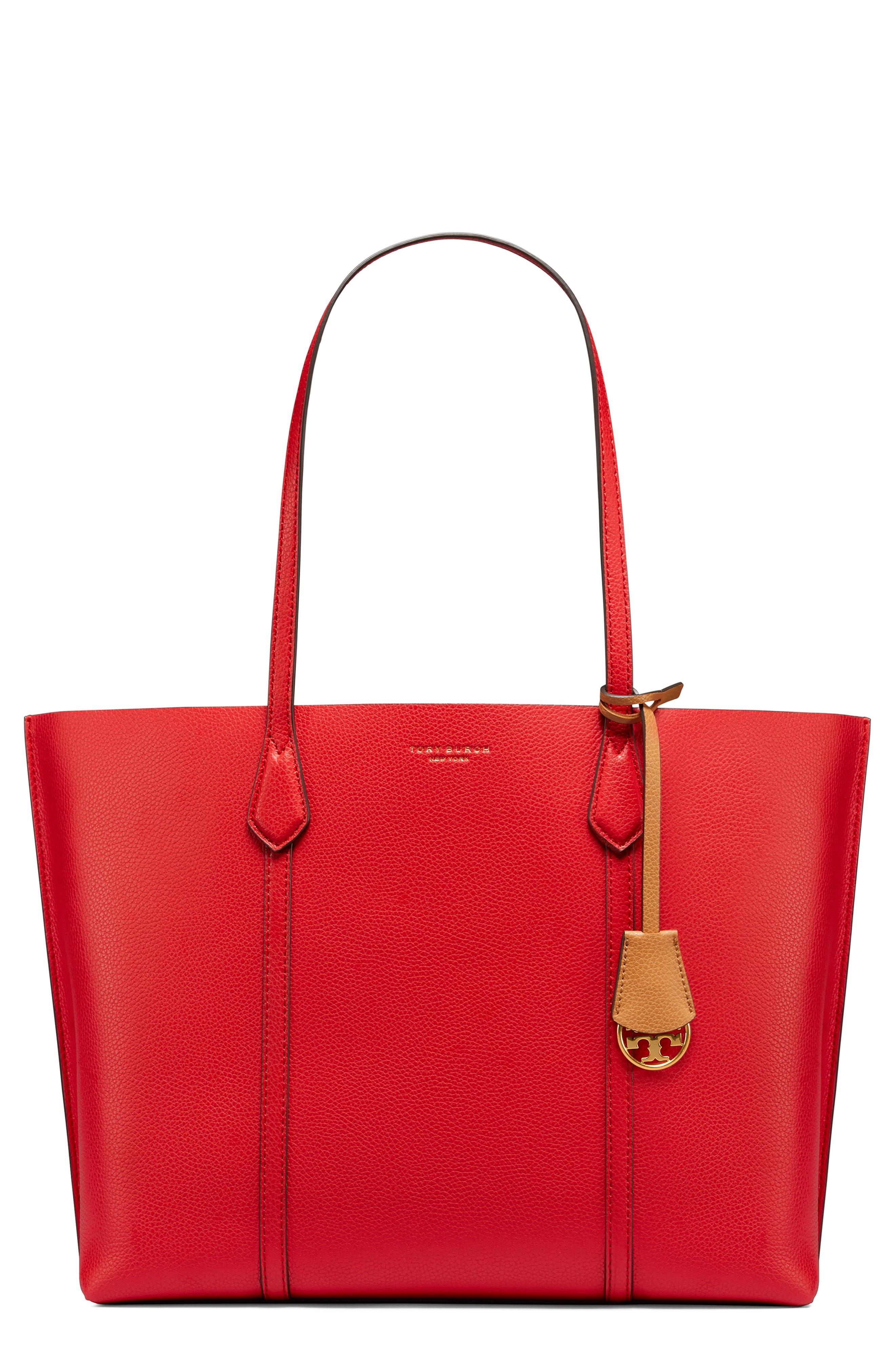 8d79ce567ef7 Lyst - Tory Burch Perry Leather 13-inch Laptop Tote - in Red