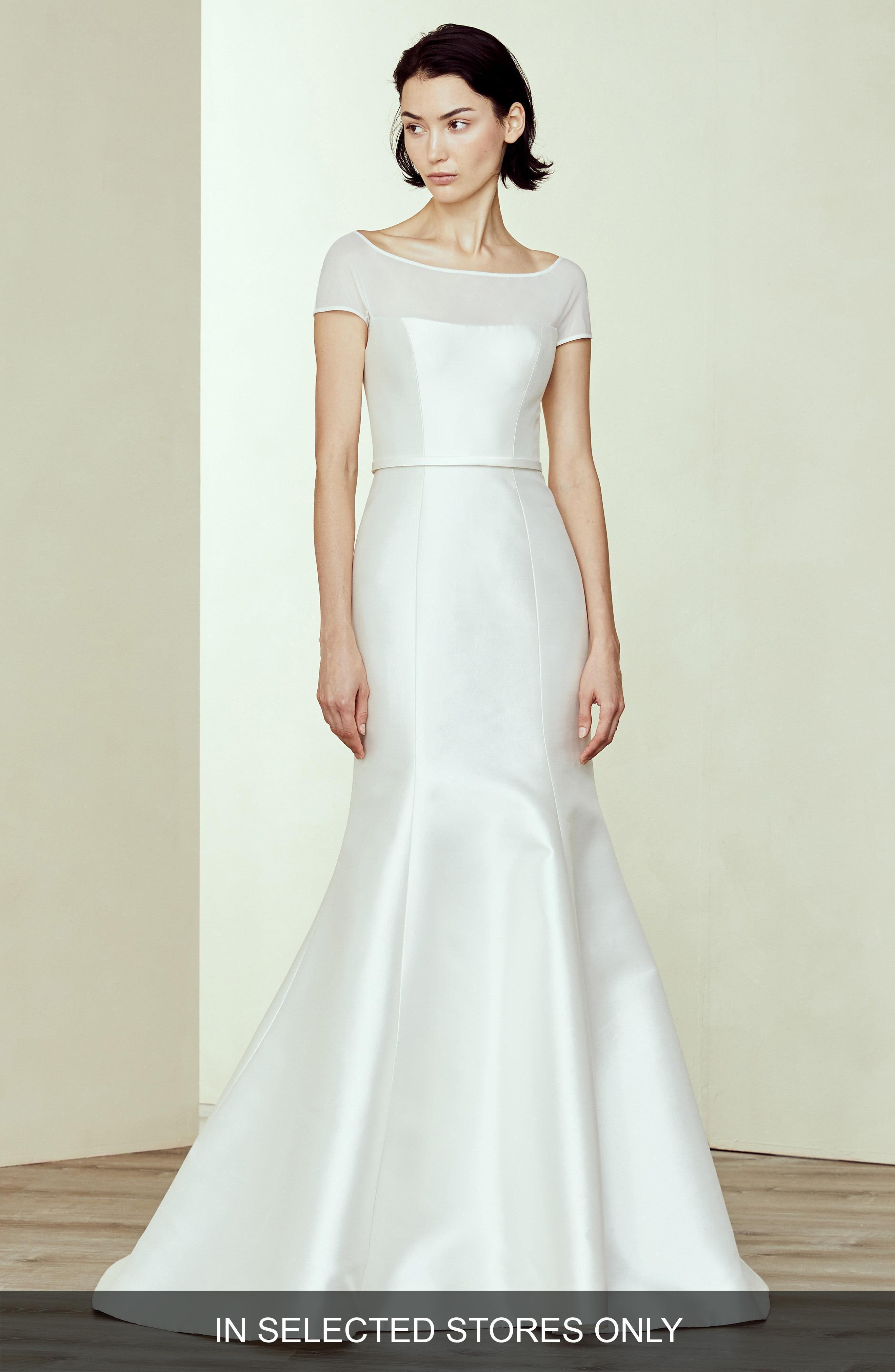 409c4adc2f99 Lyst - Amsale Denver Silk & Wool Off The Shoulder Weddding Dress in ...