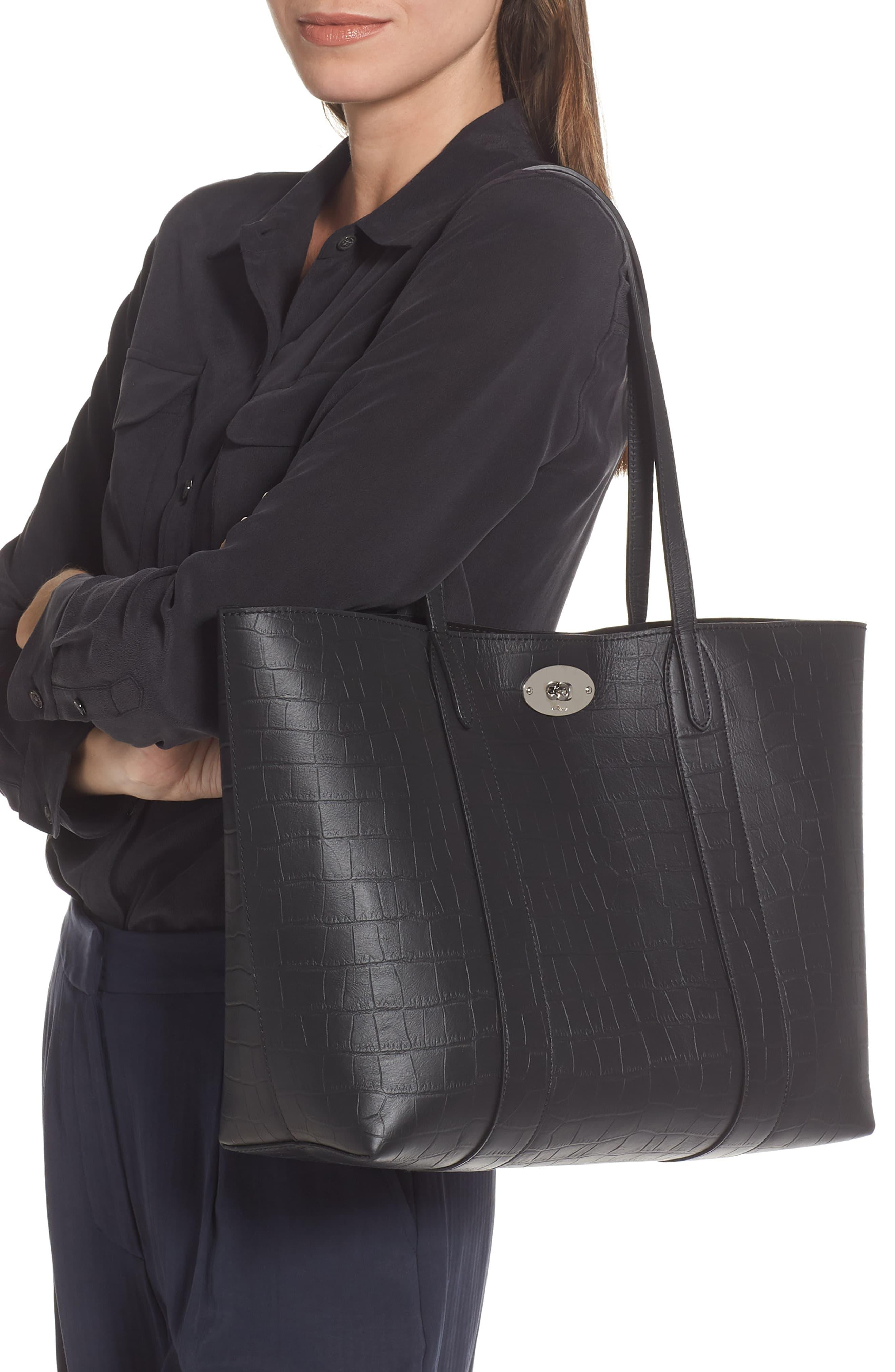 Mulberry Bayswater Matte Croc Embossed Leather Tote & Pouch in Black - Lyst