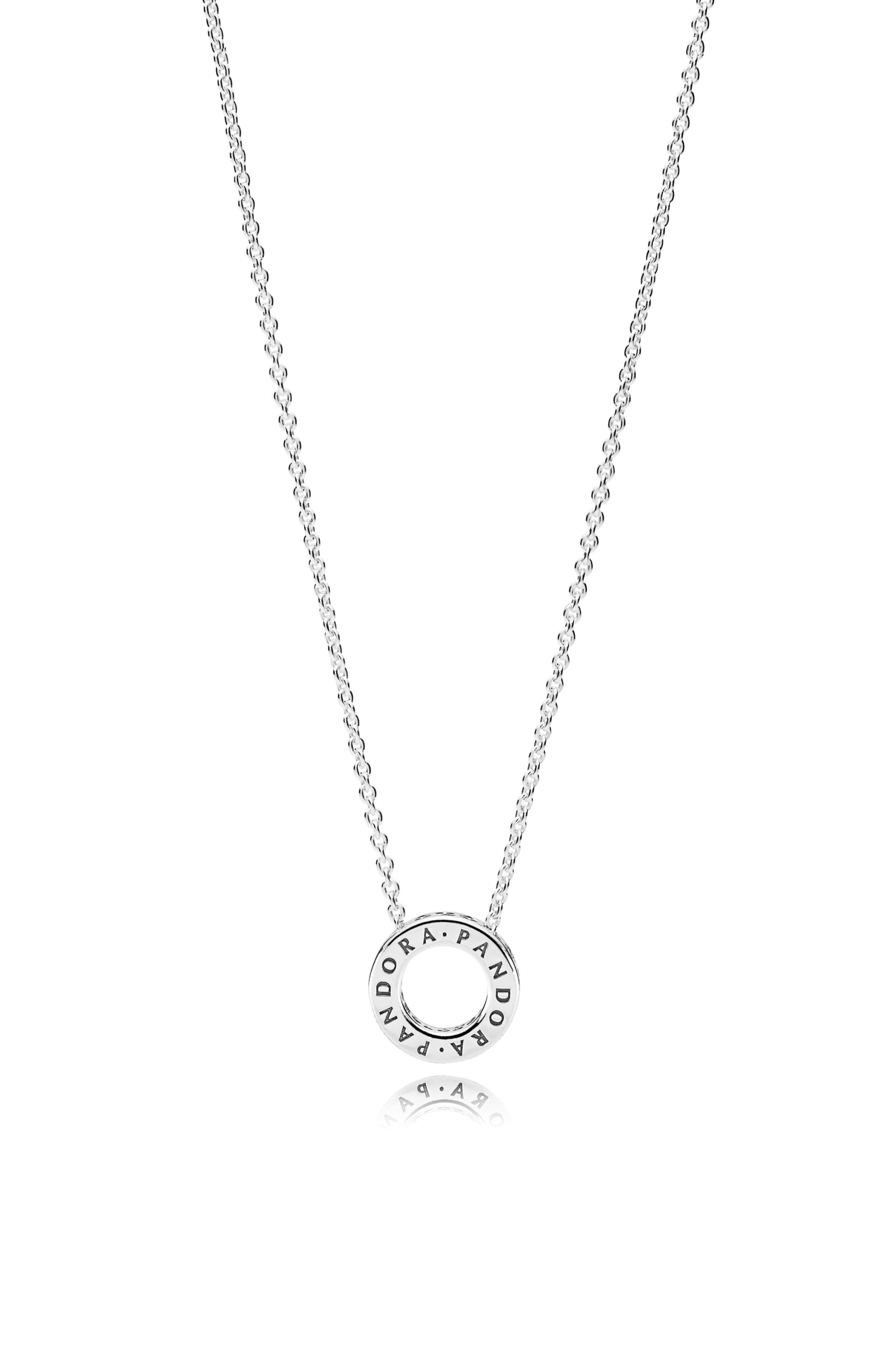 Pandora Logo Pave Circle Collier Necklace In Silver Metallic Lyst