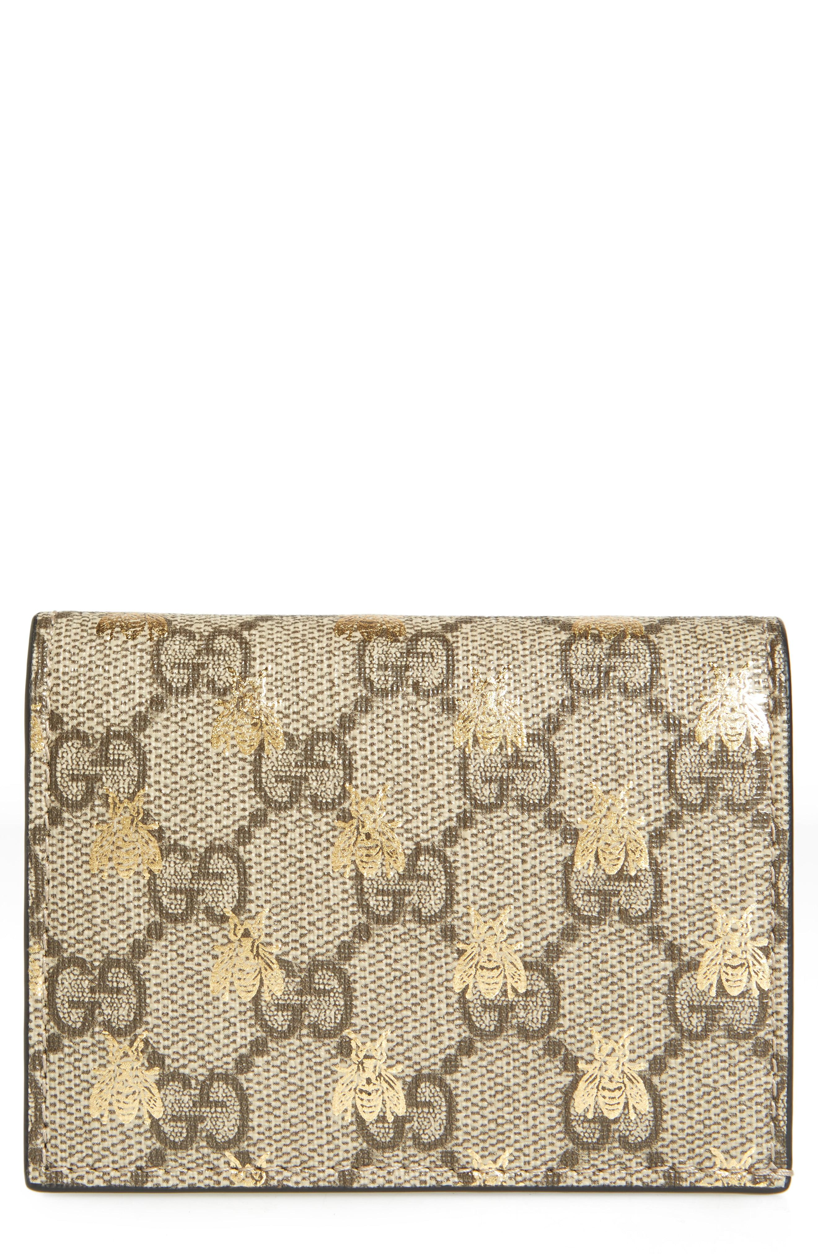686132c0799 Lyst - Gucci Gg Supreme Bee Canvas Bifold Wallet in Natural