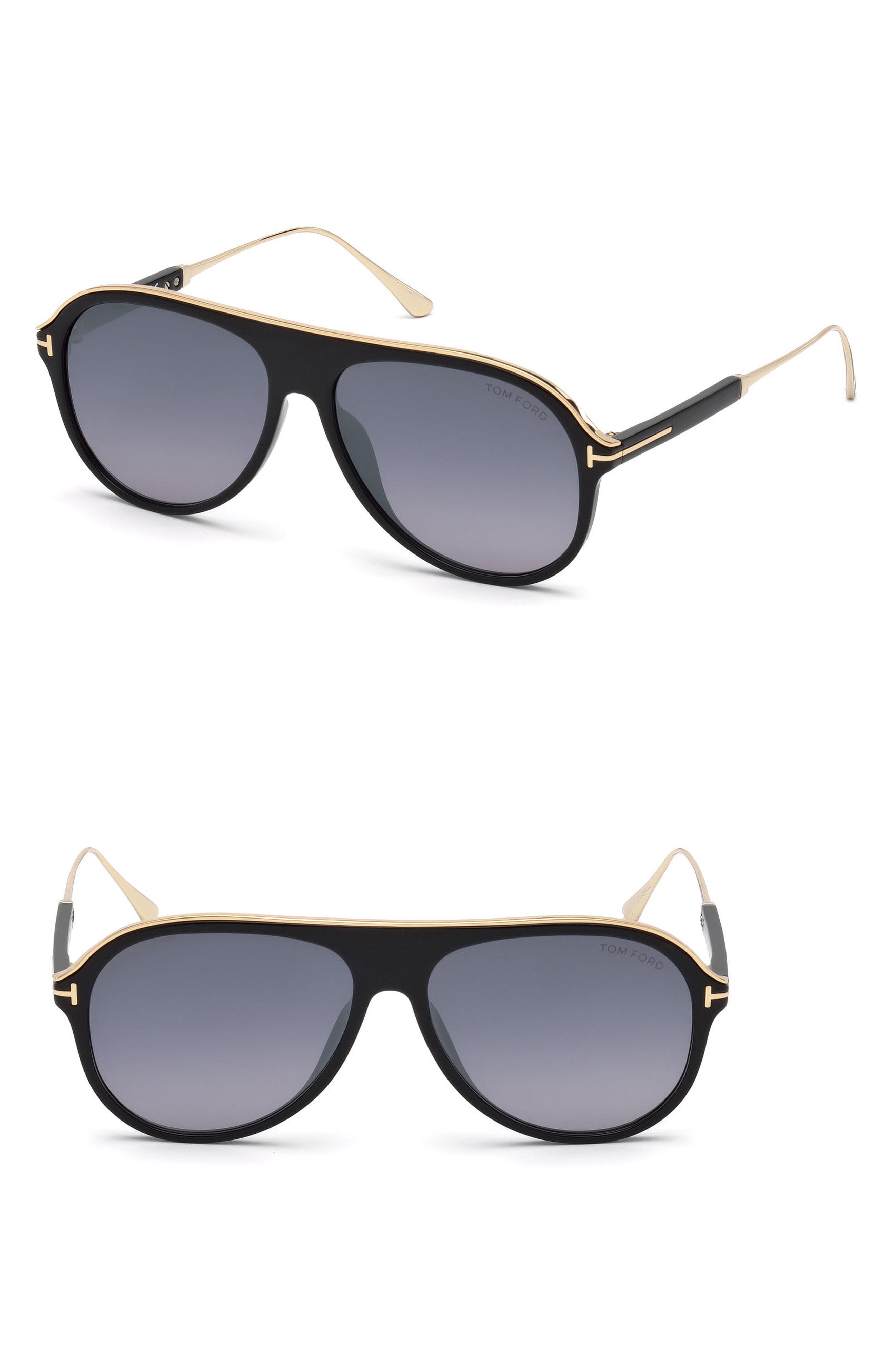 b577c537e70 Tom Ford - Nicholai-02 57mm Sunglasses - Shiny Black   Smoke Mirror for Men.  View fullscreen