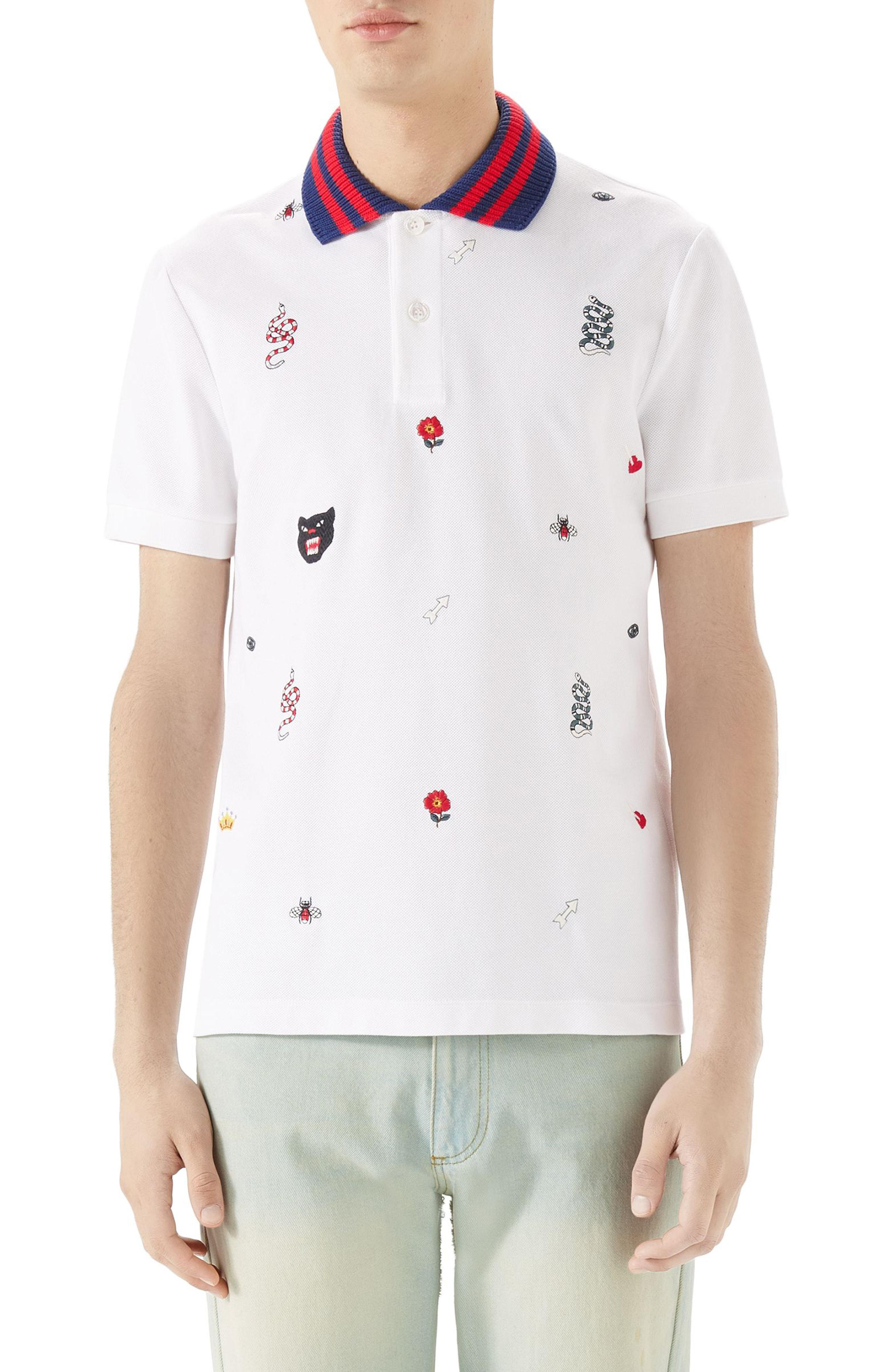 7d6e56b4b75a3c Lyst - Gucci Embroidered Pique Polo in White for Men