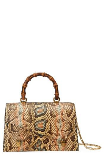 5c0750bbefb Lyst - Gucci Linea P Painted Genuine Python Top Handle Satchel in Brown